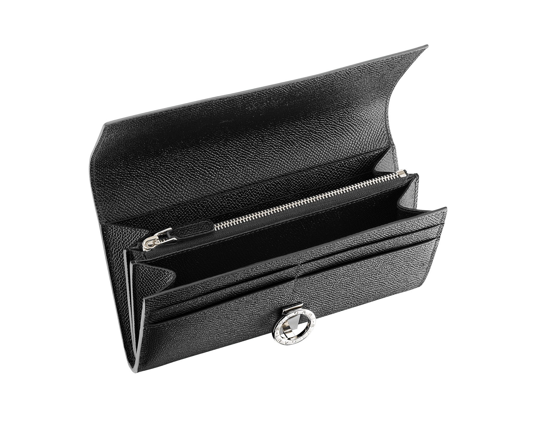 BVLGARI BVLGARI wallet pochette in black grain calf leather. Iconic logo clip closure in palladium plated brass. 289378 image 2