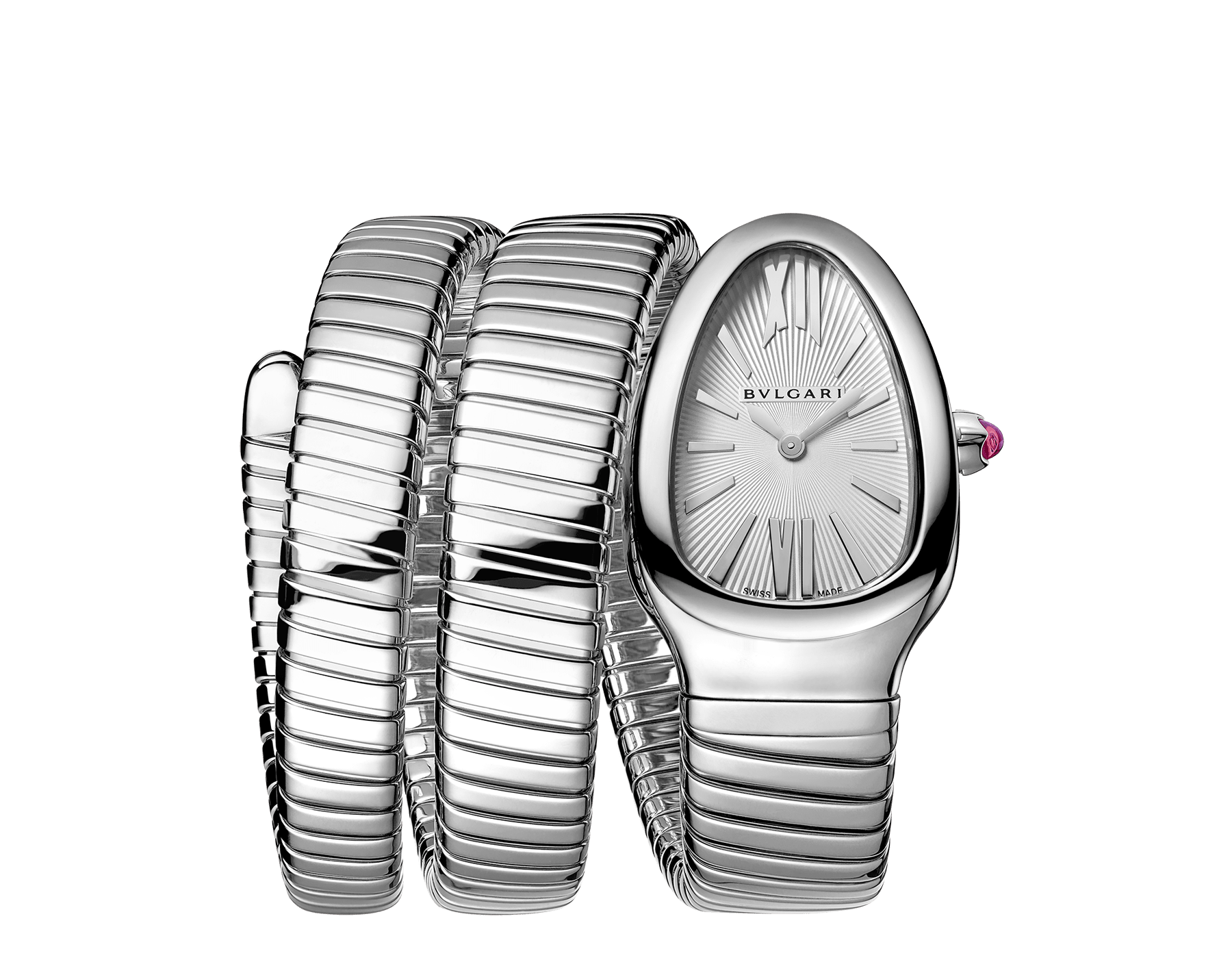 Serpenti Tubogas double spiral watch in stainless steel case and bracelet, with silver opaline dial. 101911 image 1