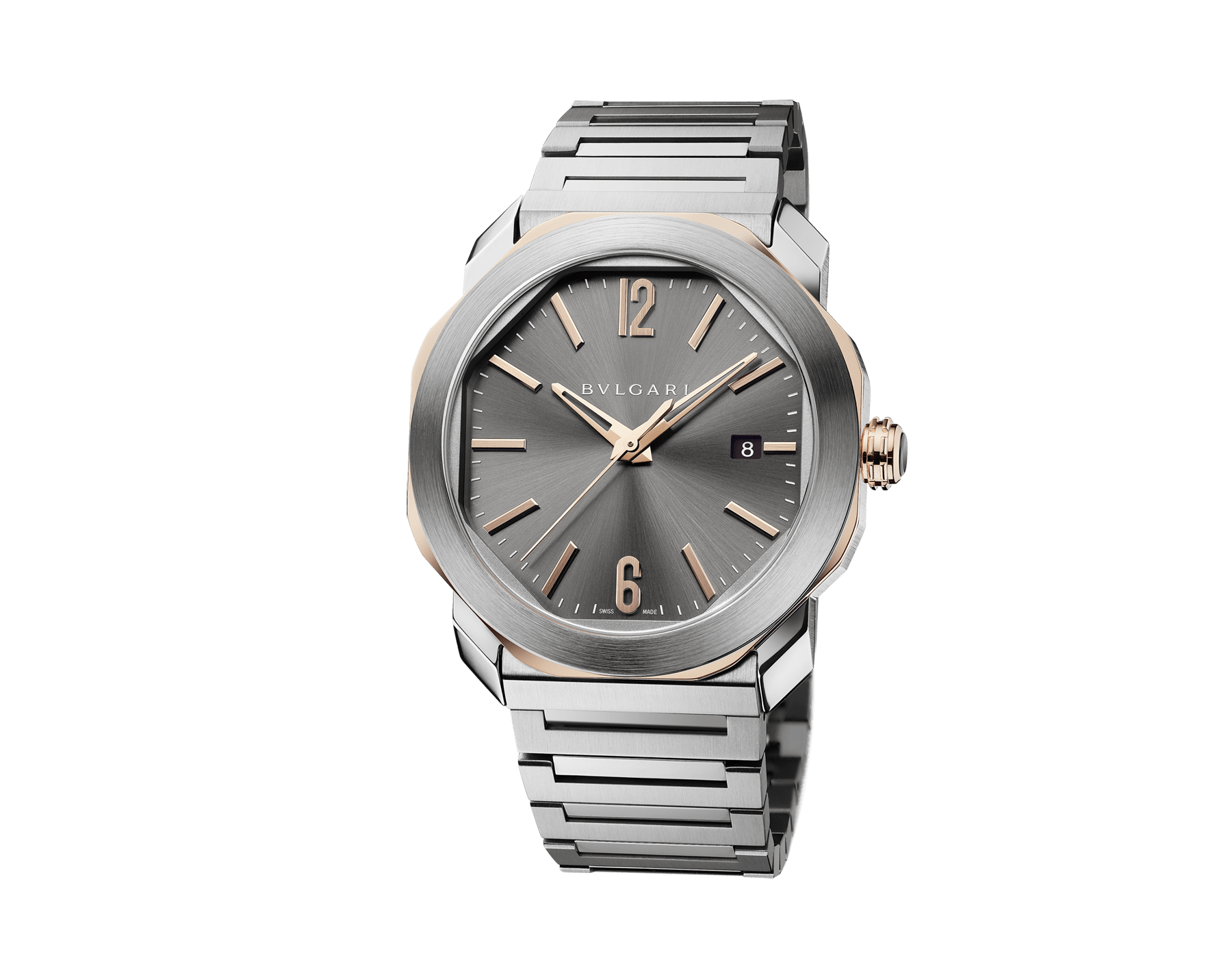 Octo Roma watch with mechanical manufacture movement, automatic winding and date, stainless steel case, 18 kt rose gold octagon, transparent case back, anthracite dial and stainless steel bracelet 103083 image 2