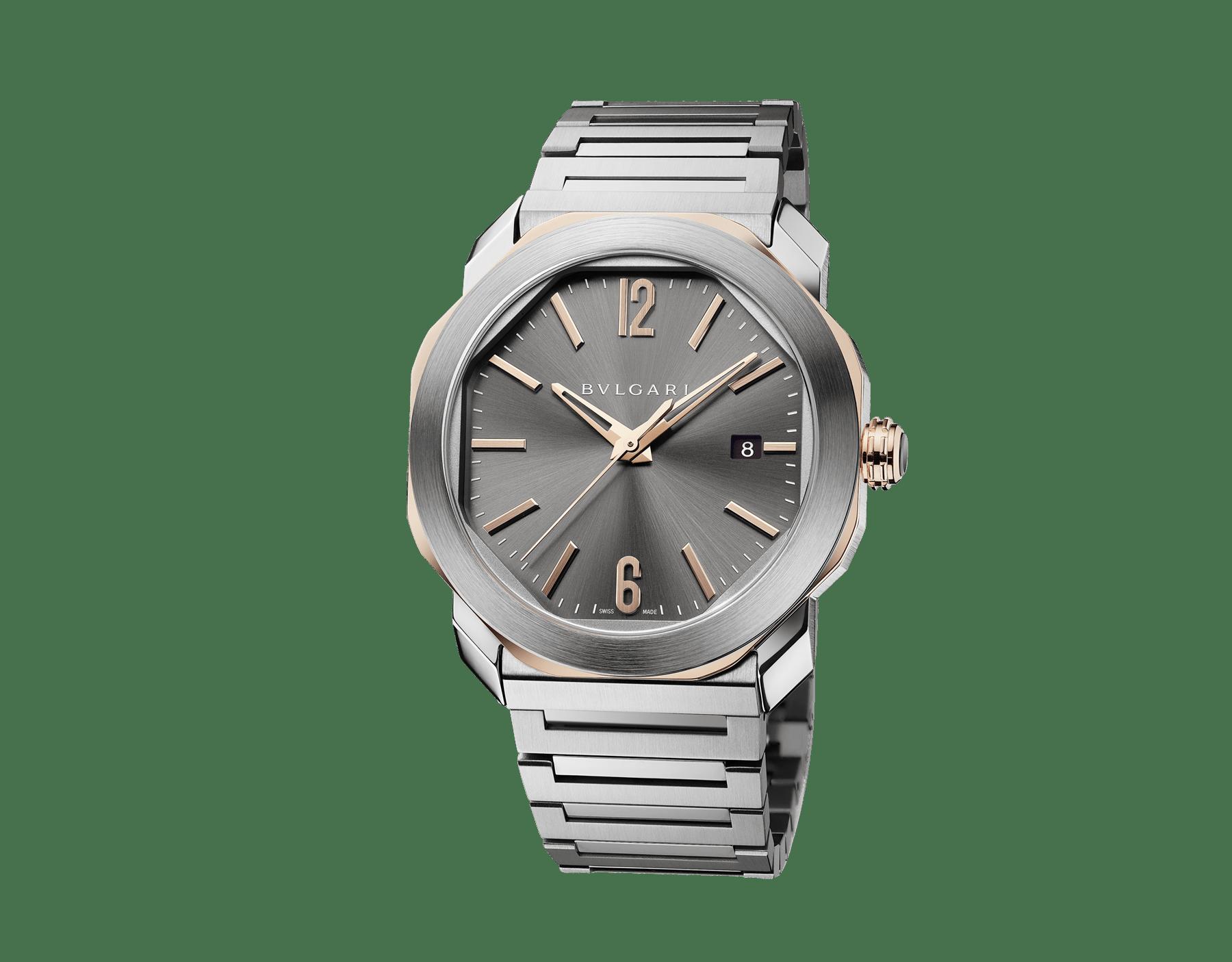 Octo Roma 腕錶搭載機械機芯,自動上鍊,日期顯示,精鋼錶殼,18K 玫瑰金八角造型,透明底蓋,霧黑色錶盤,精鋼錶帶。 103083 image 2