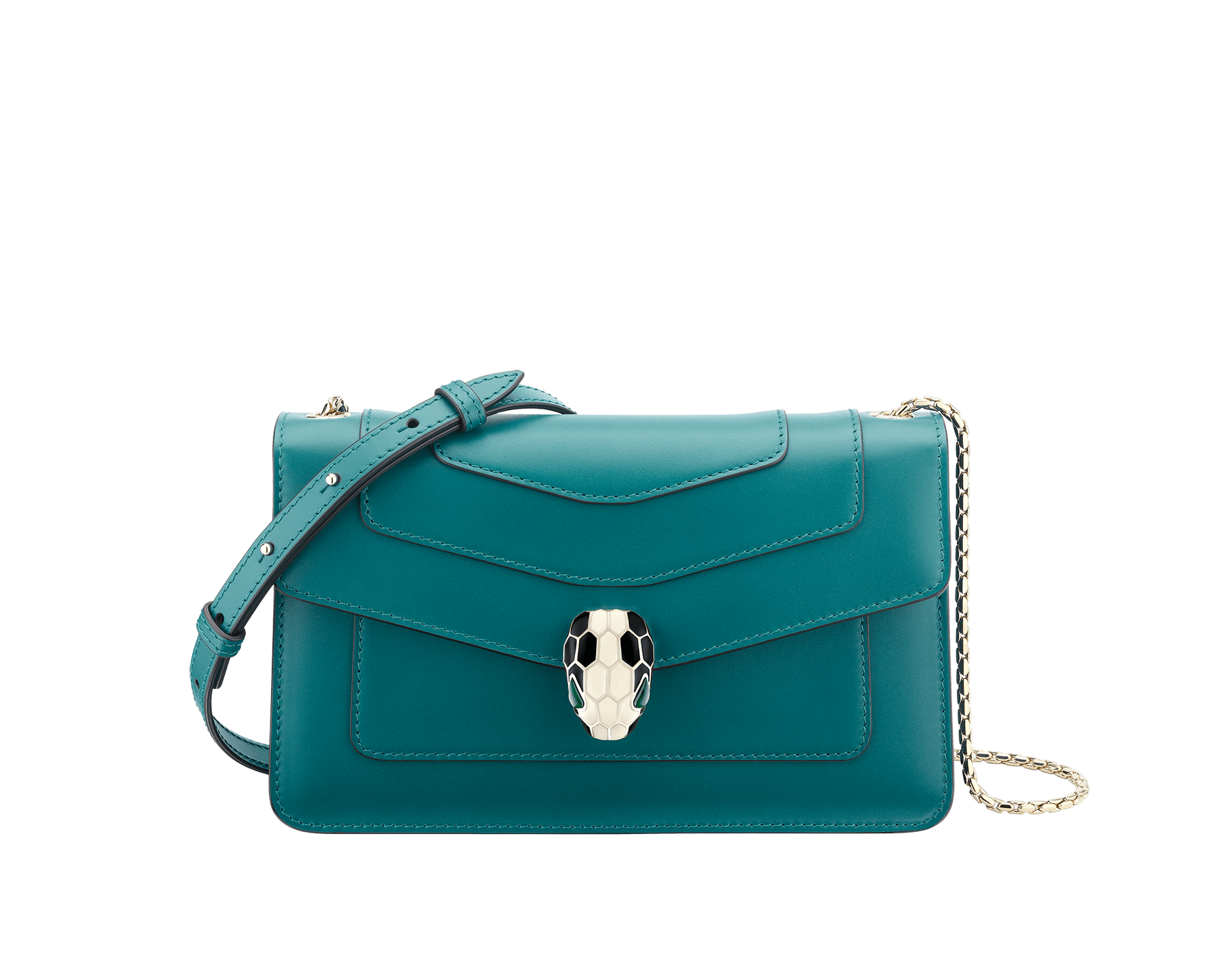 Serpenti Forever crossbody bag in sea star coral smooth calf leather. Snakehead closure in light gold plated brass decorated with black and white enamel, and green malachite eyes. 625-BCLc image 1