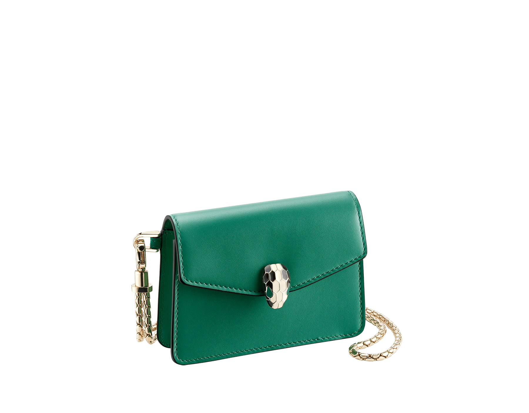 Serpenti Forever neck credit card holder in emerald green calf leather. Iconic snake head closure in black and white enamel, with green enamel eyes. 289099 image 1