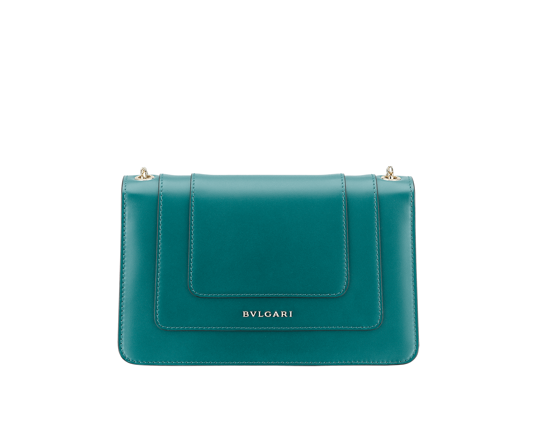 Serpenti Forever crossbody bag in sea star coral smooth calf leather. Snakehead closure in light gold plated brass decorated with black and white enamel, and green malachite eyes. 625-BCLc image 3