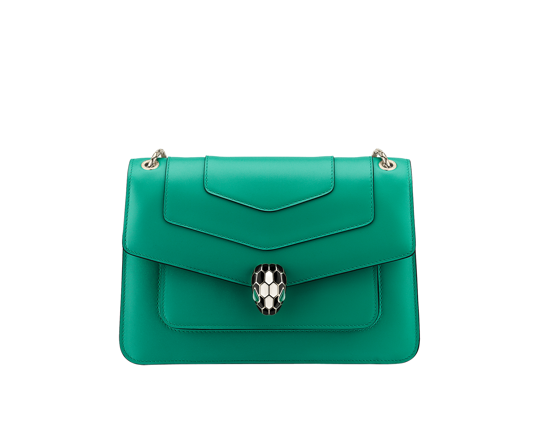 """Serpenti Forever"" shoulder bag in black calf leather. Iconic snakehead closure in light gold-plated brass enhanced with black and white agate enamel and green malachite eyes. 1077-CL image 1"