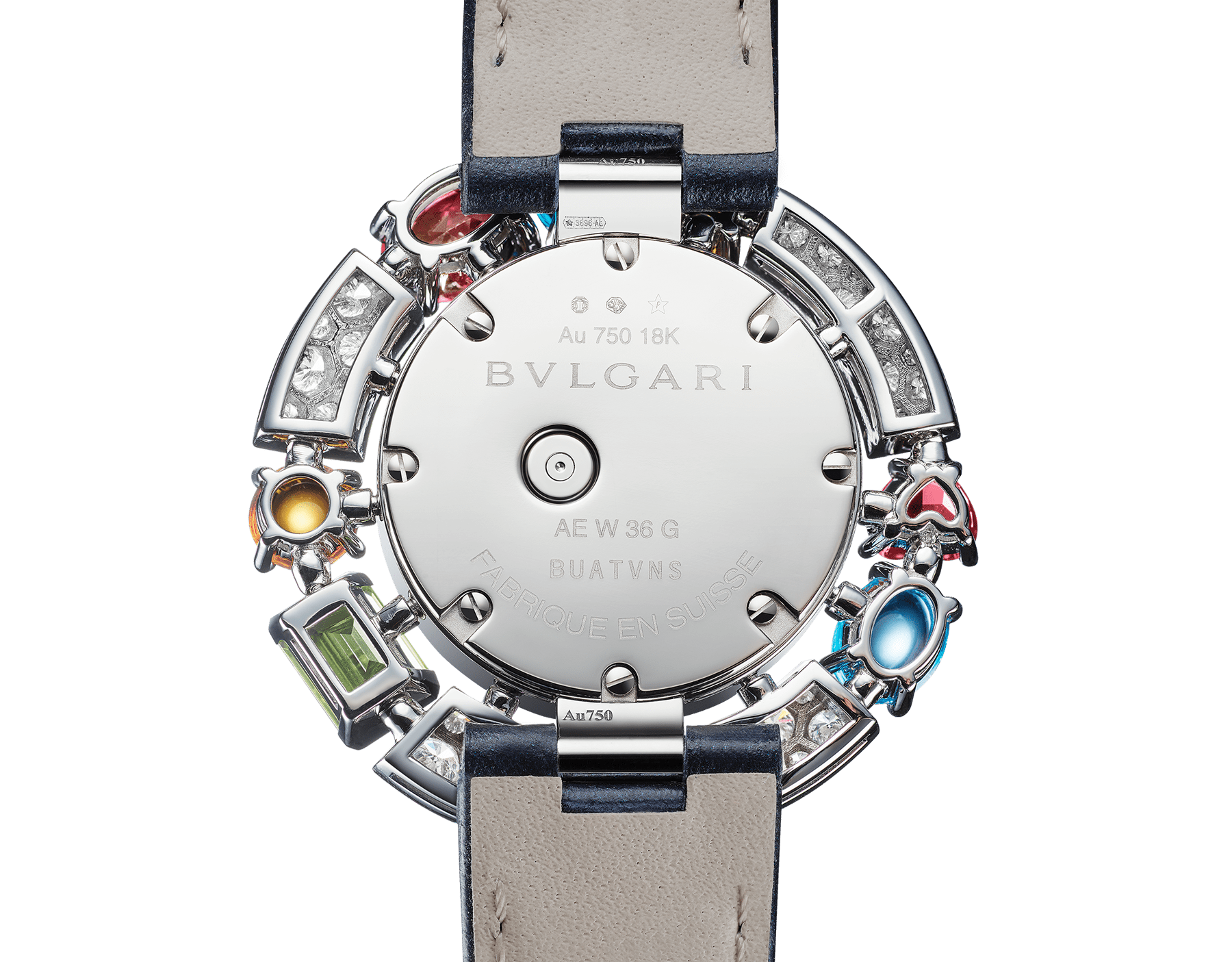 Allegra High Jewellery watch with 18 kt white gold case set with brilliant-cut diamonds, two citrines, an amethyst, a peridot, two blue topazes and two rhodolite, mother-of-pearl dial, diamond indexes and blue alligator bracelet. Water resistant up to 30 metres 103499 image 3