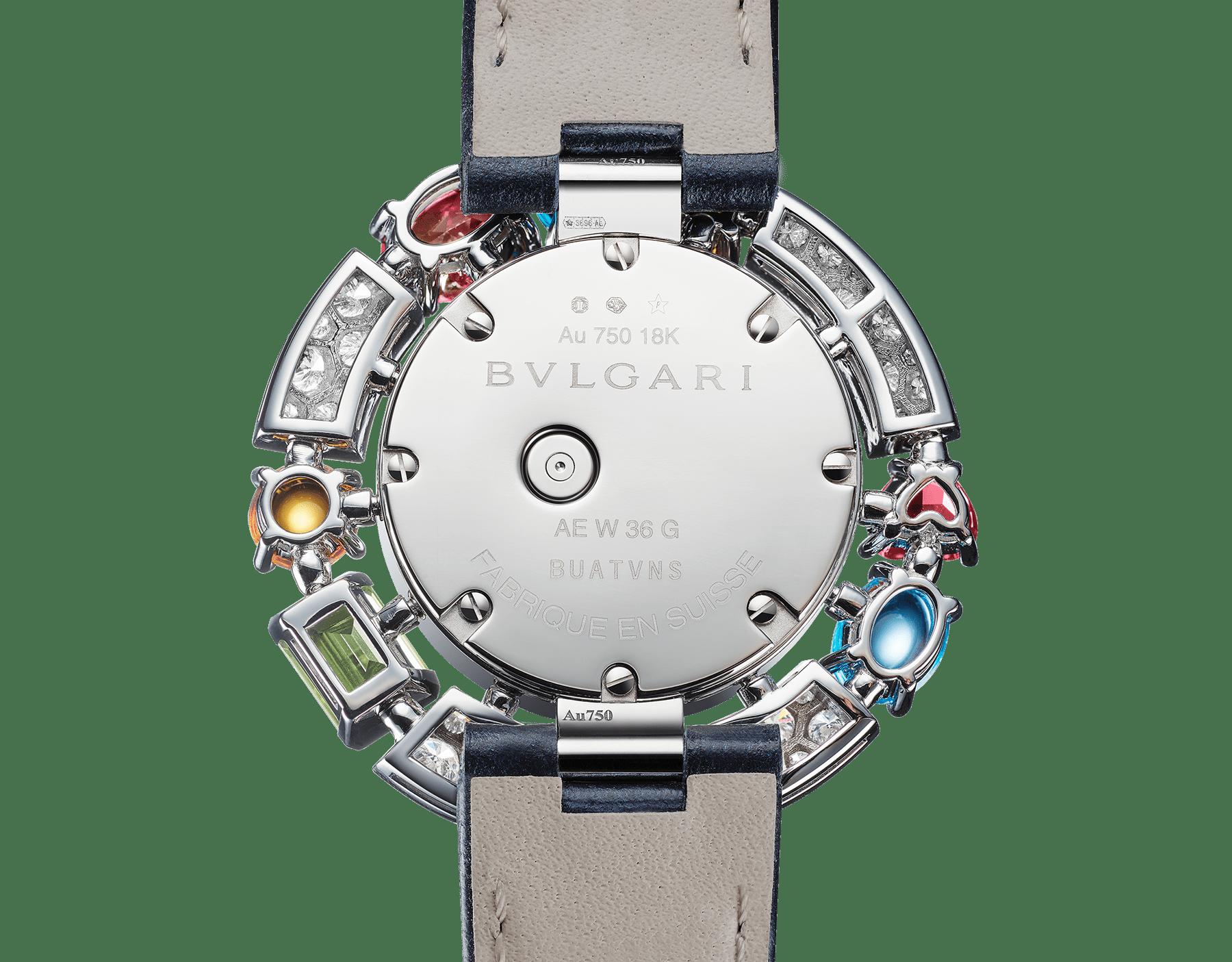 Allegra High Jewellery 頂級珠寶腕錶,18K 白金錶殼鑲飾明亮型切割鑽石、2 顆黃水晶、1 顆紫水晶、1 顆橄欖石、2 顆藍色拓帕石、2 顆玫瑰榴石。珍珠母貝錶盤,鑽石時標,藍色亮面鱷魚皮錶帶。防水深度 30 公尺。 103499 image 3