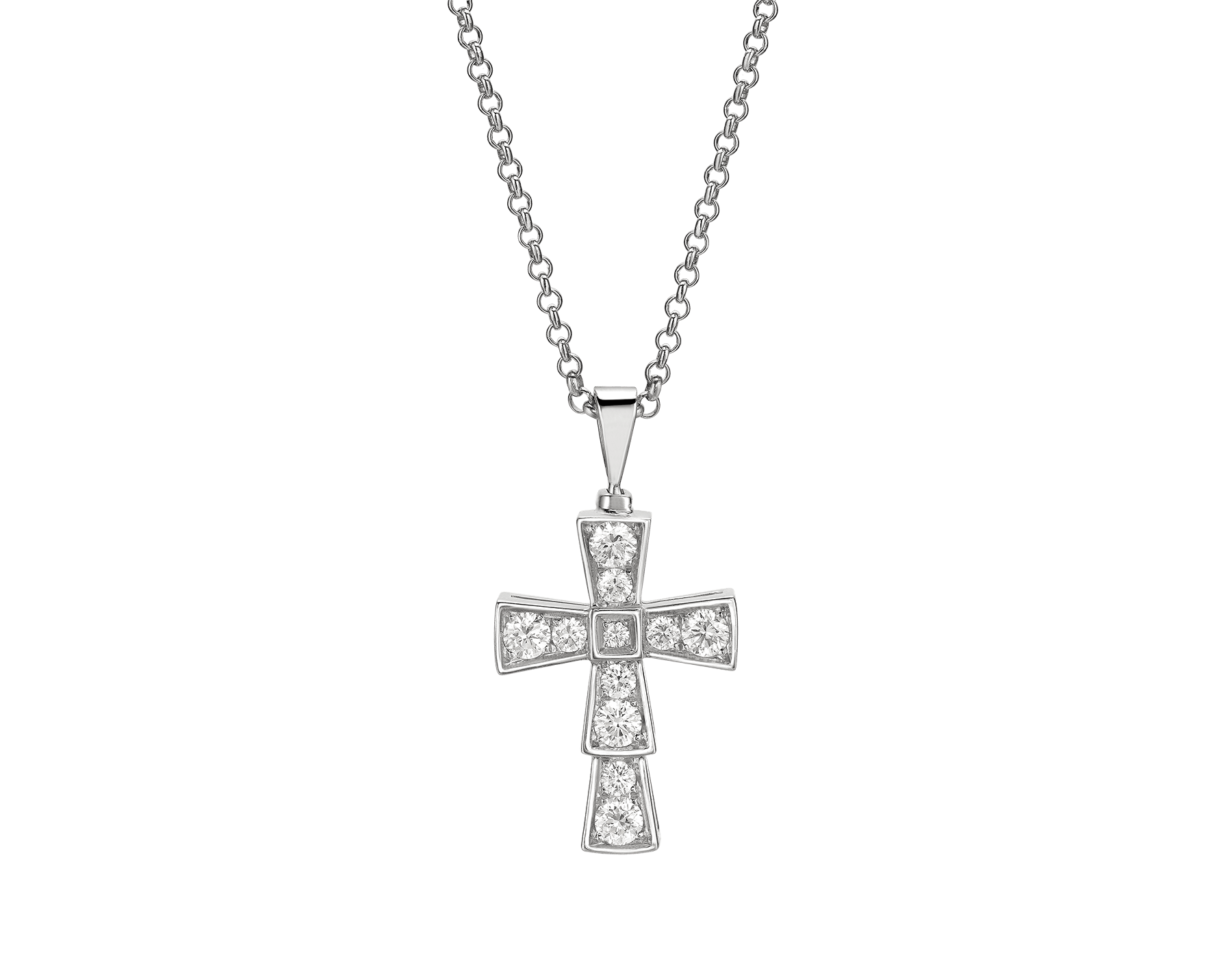 Croce pendant in 18 kt white gold and pavé diamonds (0.32 ct) 354038 image 1