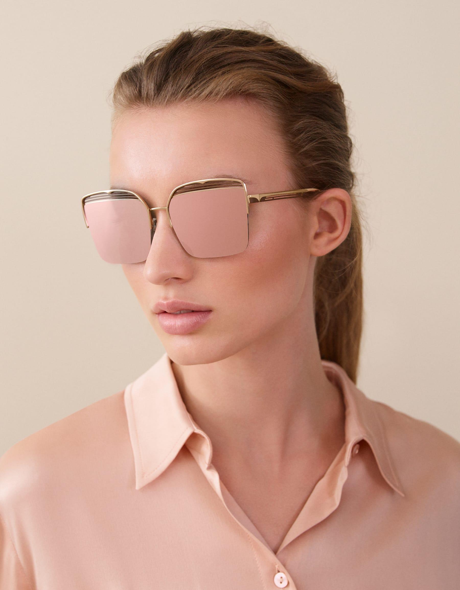 "Quadratische Bvlgari B.zero1 ""B.overvibe"" Halbrand-Sonnenbrille aus Metall. 903812 image 3"