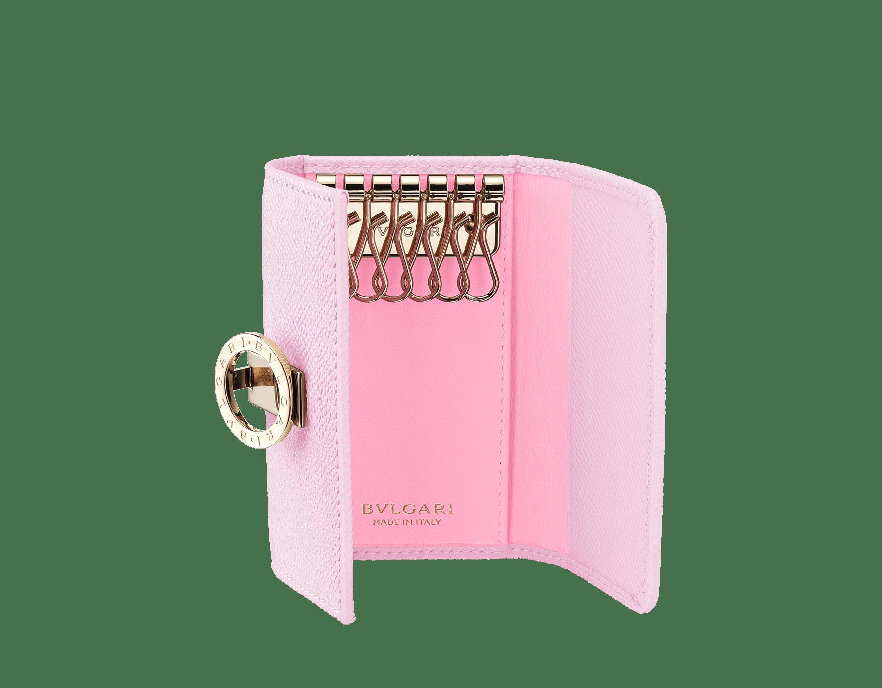 BVLGARI BVLGARI small keyholder in rosa di francia grain calf leather and flamingo quartz nappa leather. Iconic logo clip closure in light gold plated brass. 289032 image 2