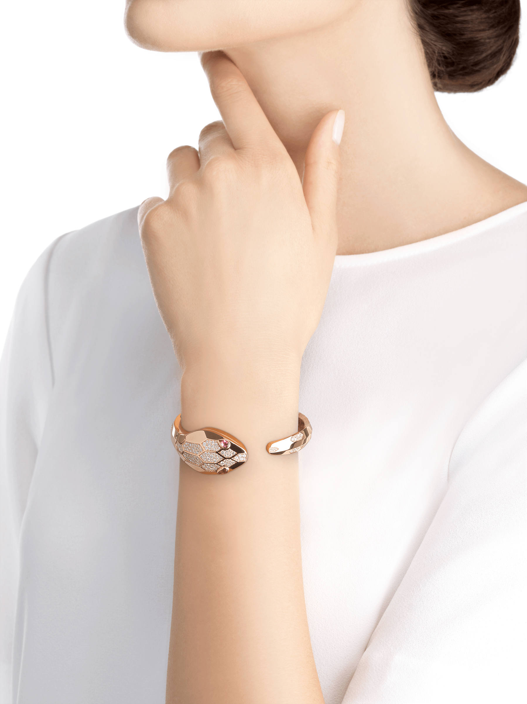 Serpenti Misteriosi Secret Watch in 18 kt rose gold case and bangle bracelet both set with round brilliant-cut diamonds, 18 kt rose gold diamond pavé dial and pear-shaped rubellite eyes. SrpntMister-SecretWtc-rose-gold2 image 7