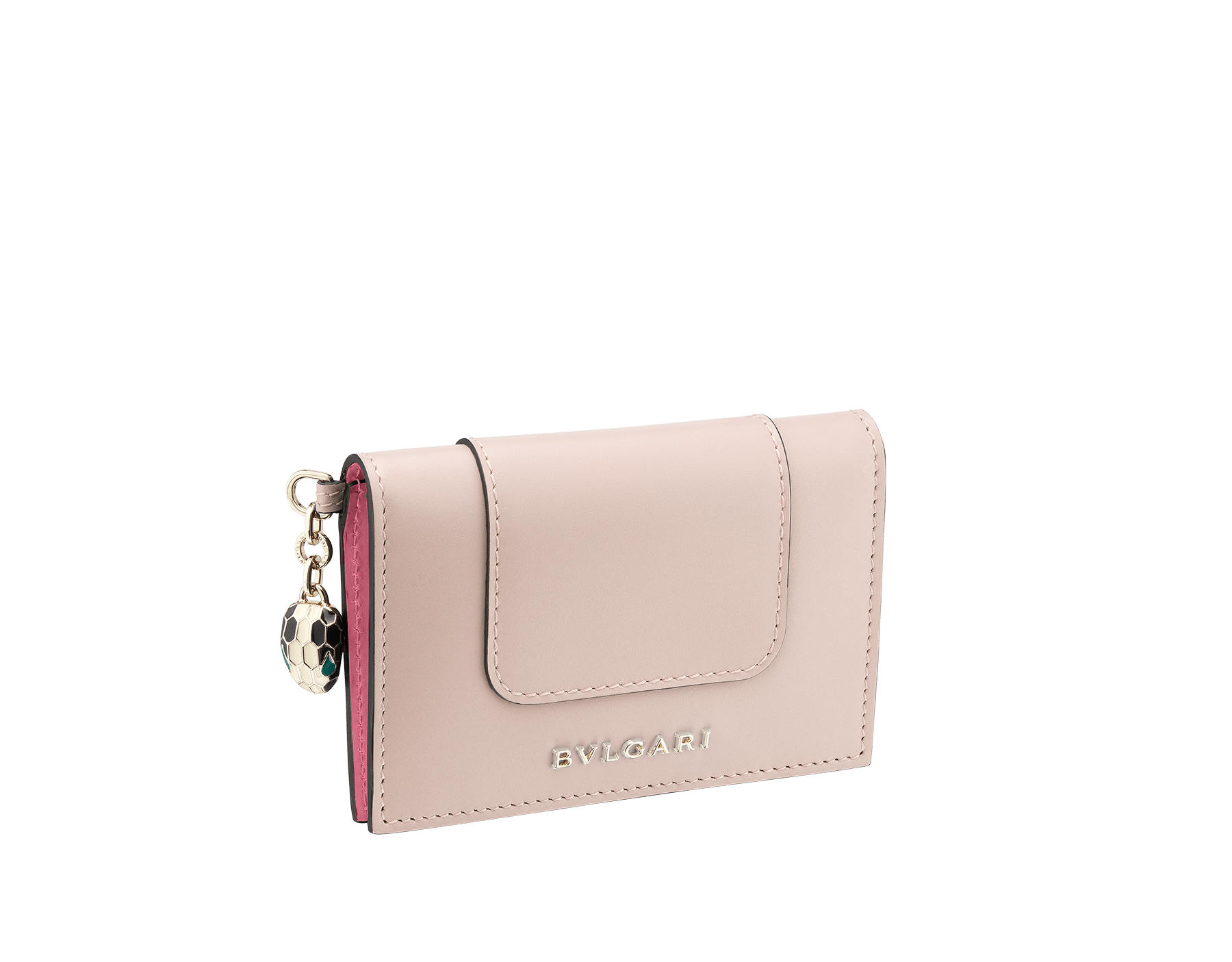 Serpenti Forever folded credit card holder in crystal rose calf leather. Iconic snakehead charm in black and white enamel, with green malachite enamel eyes. 287896 image 1