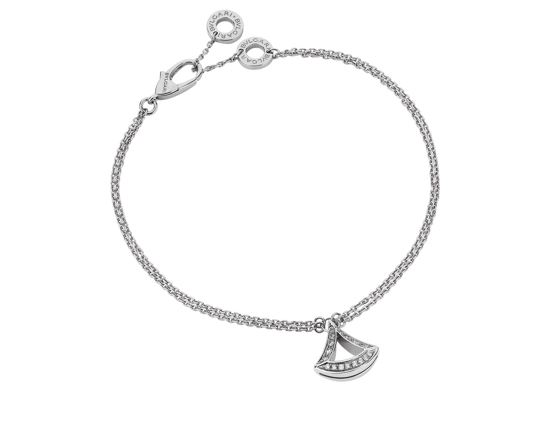 DIVAS' DREAM openwork bracelet in 18 kt white gold with 18 kt white gold pendant set with pavé diamonds (0.20 ct). BR858077 image 1