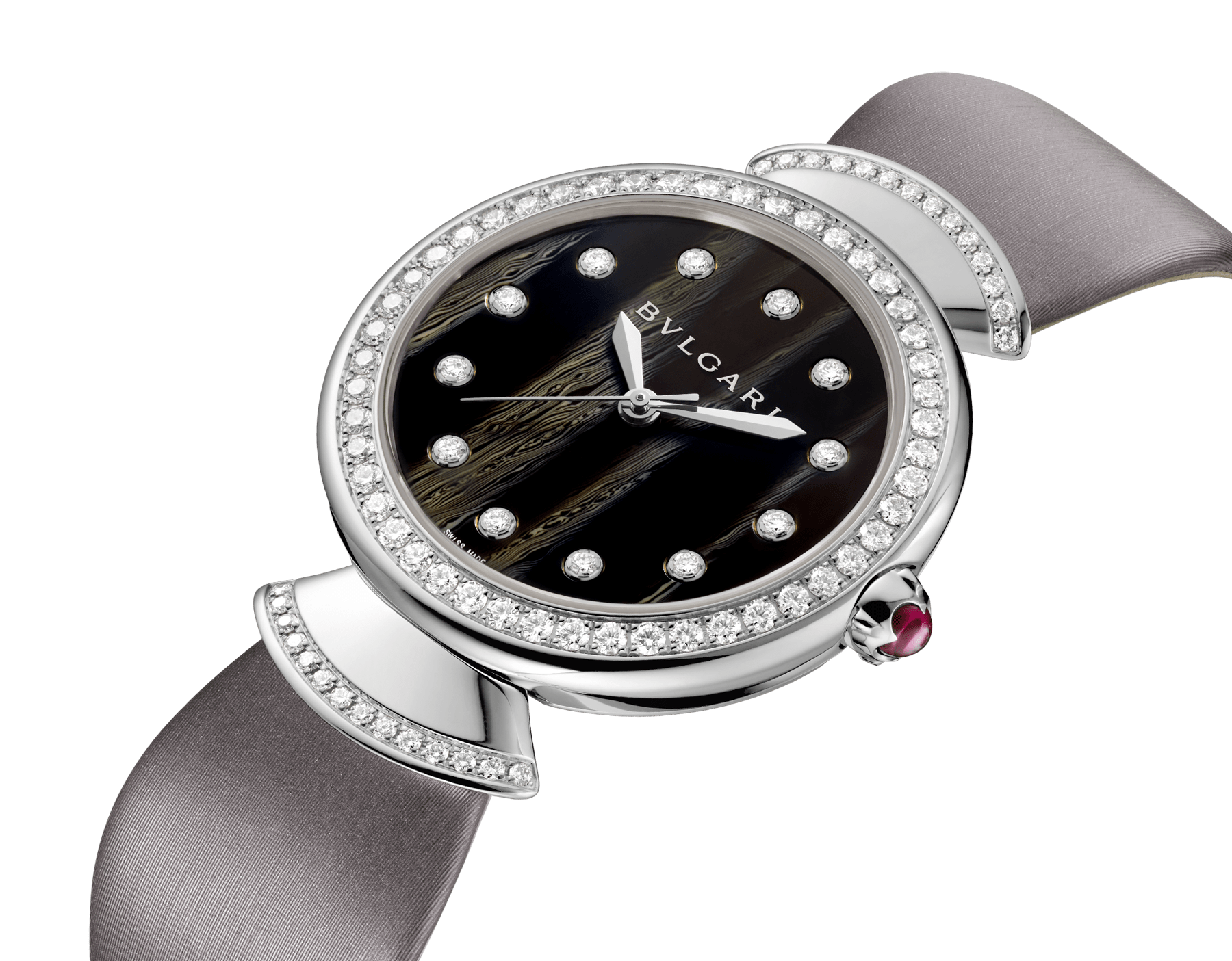 DIVAS' DREAM watch with 18 kt white gold case set with brilliant-cut diamonds, acetate dial, diamond indexes and grey satin bracelet 102576 image 2