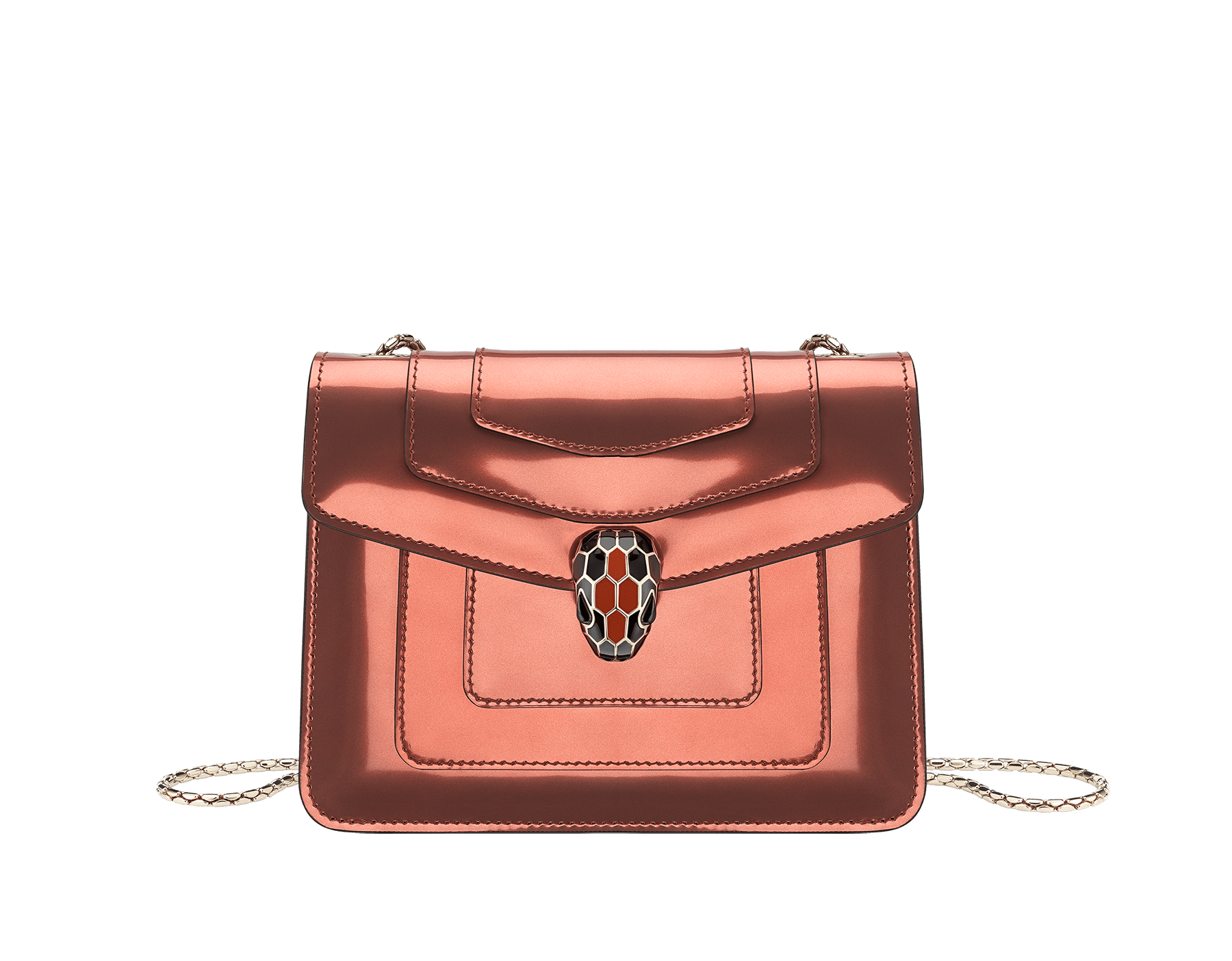 """Serpenti Forever"" crossbody bag in imperial topaz brushed metallic calf leather and tone-on-tone smooth calf leather. Iconic snakehead closure in light gold plated brass embellished with black and imperial topaz enamel and black onyx eyes. 288886 image 1"