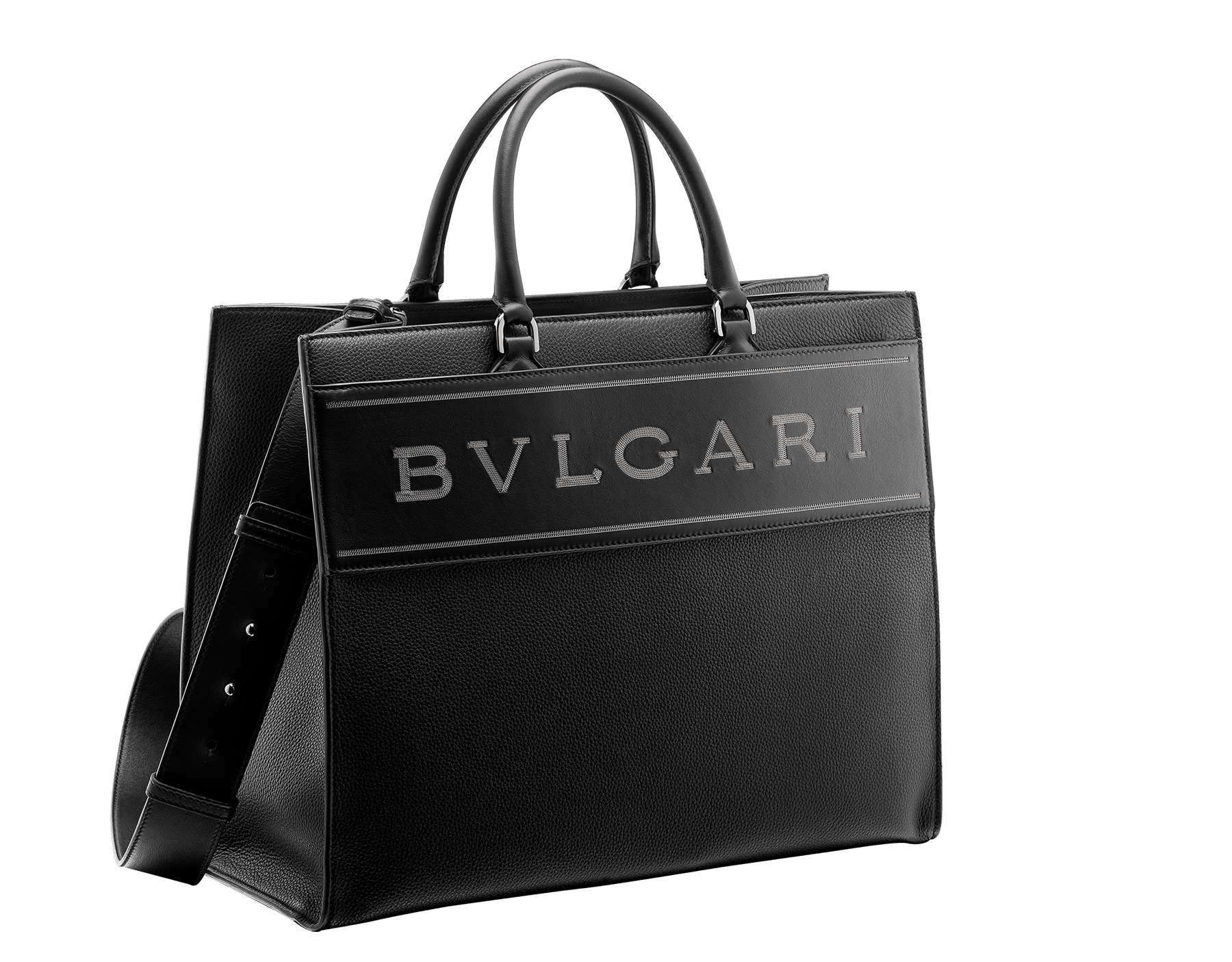 """Bvlgari Logo"" large tote bag in black calf leather, with black grosgrain inner lining. Bvlgari logo featured with dark ruthenium-plated brass chain inserts on the black calf leather. BVL-1160 image 2"