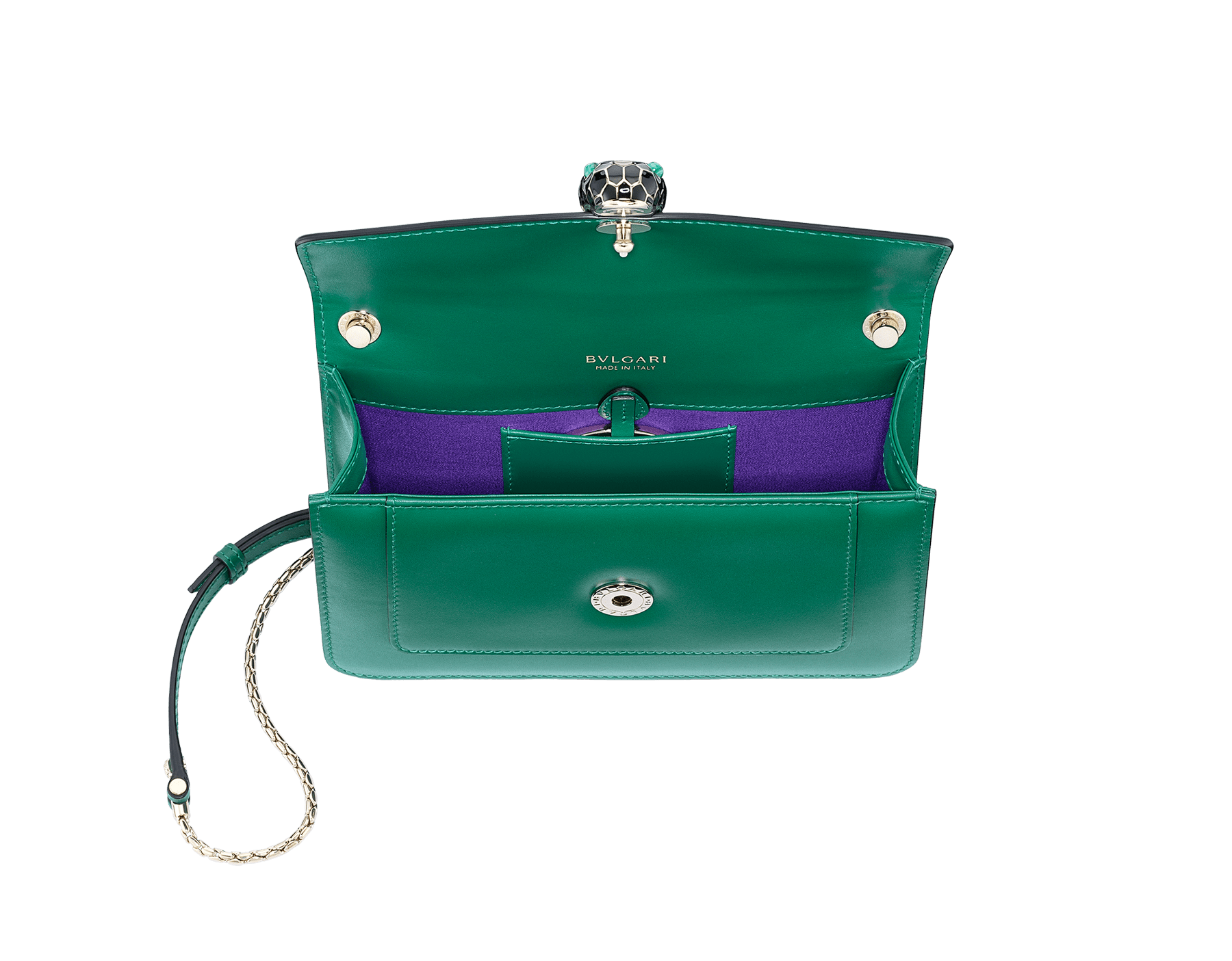 """Serpenti Forever"" crossbody bag in crystal rose calf leather. Iconic snakehead closure in light gold plated brass enriched with black and white enamel and green malachite eyes 625-CLa image 4"