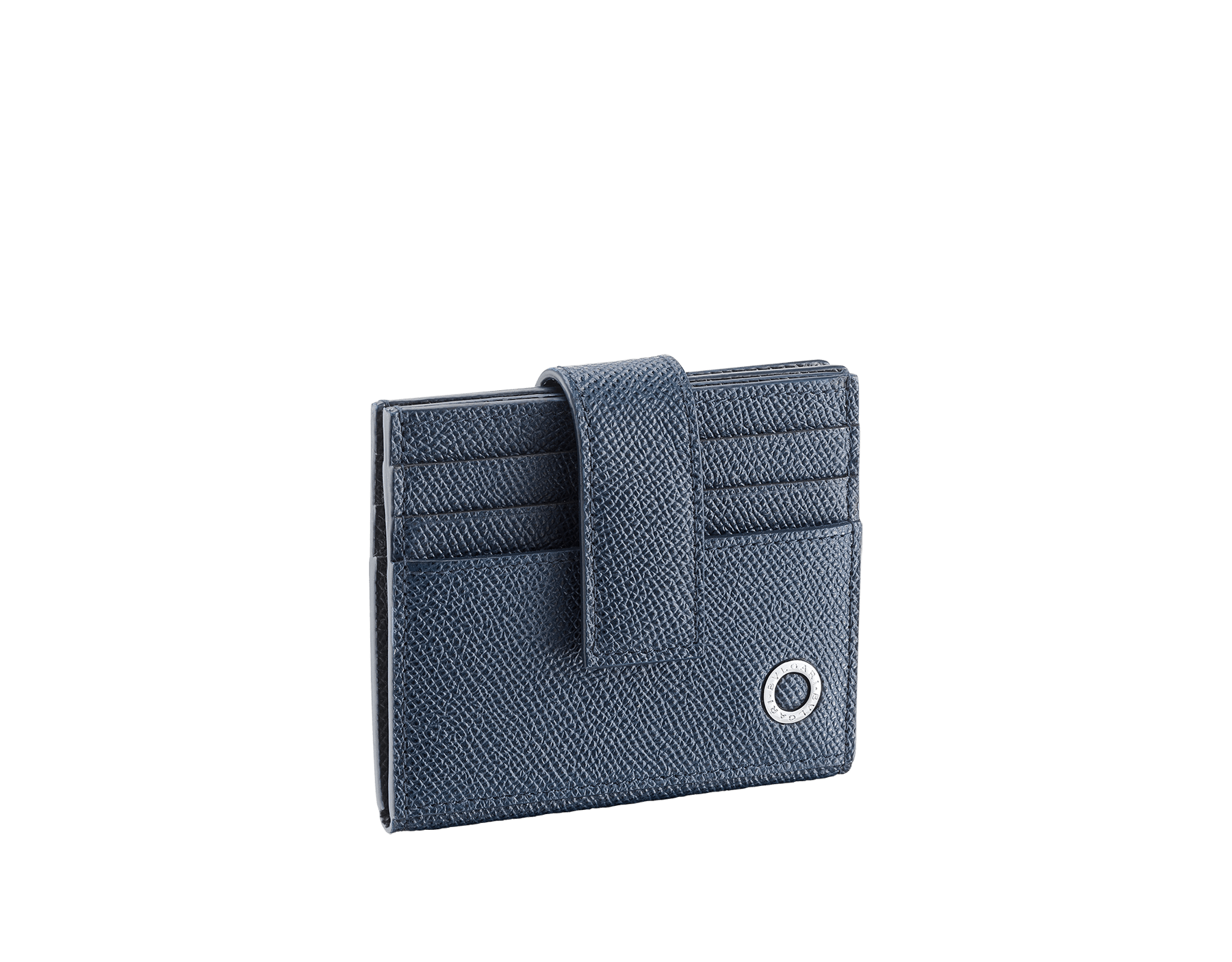 BVLGARI BVLGARI folded credit card holder in denim sapphire and charcoal diamond grain calf leather. Iconic logo décor in palladium plated brass. 289235 image 1