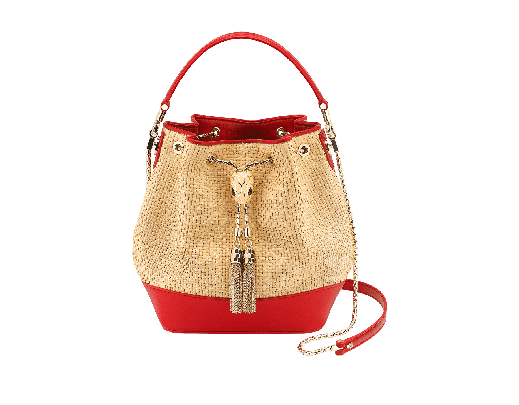 """Serpenti Forever"" small bucket bag in beige raffia and Carmine Jasper red calfskin, with Carmine Jasper red nappa leather internal lining. Alluring light gold-plated brass snakehead closure enhanced with full matte Natural beige enamel and black onyx eyes. 290959 image 1"