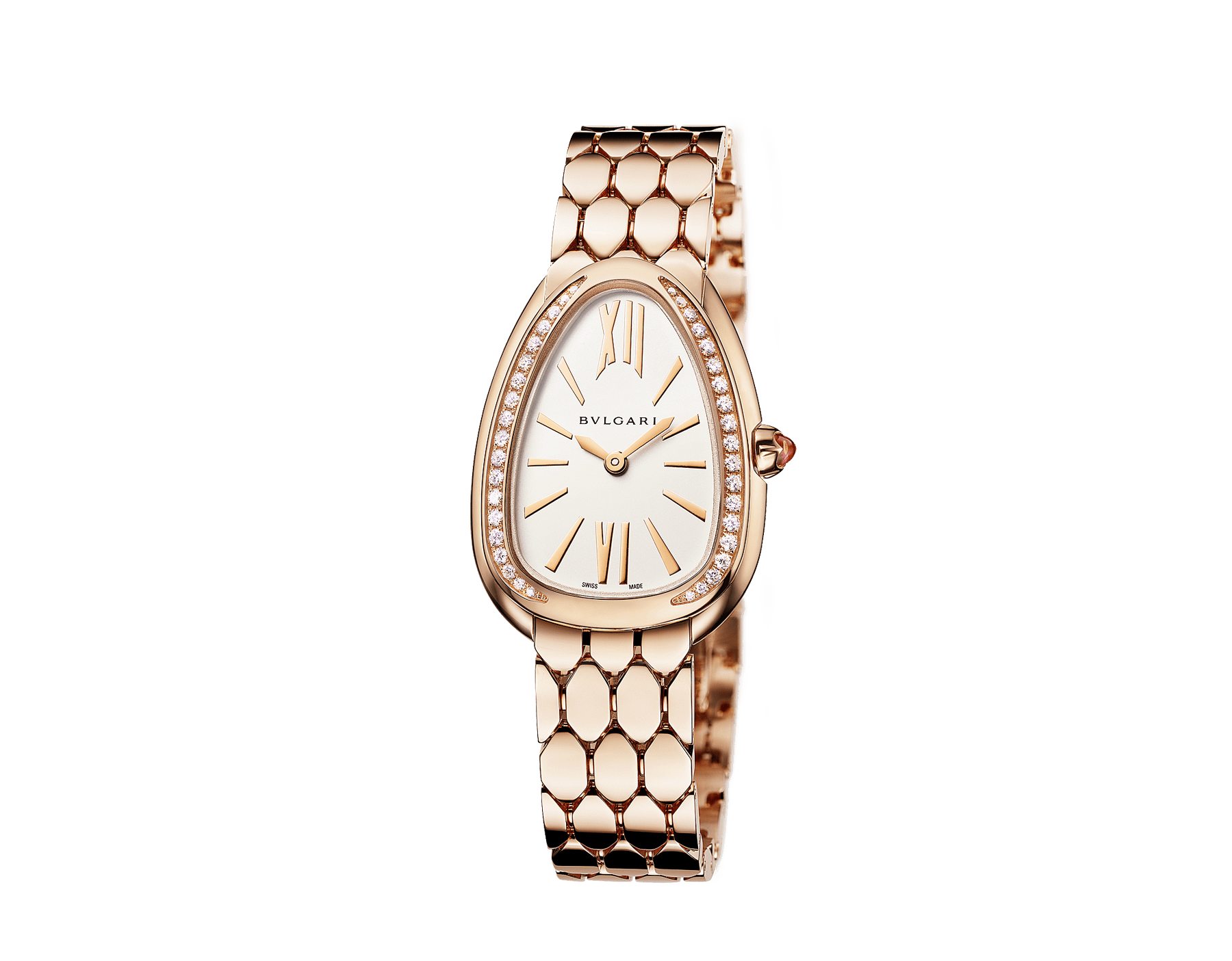 Serpenti Seduttori watch with 18 kt rose gold case, 18 kt rose gold bracelet, 18 kt rose gold bezel set with diamonds and a white silver opaline dial. 103146 image 2