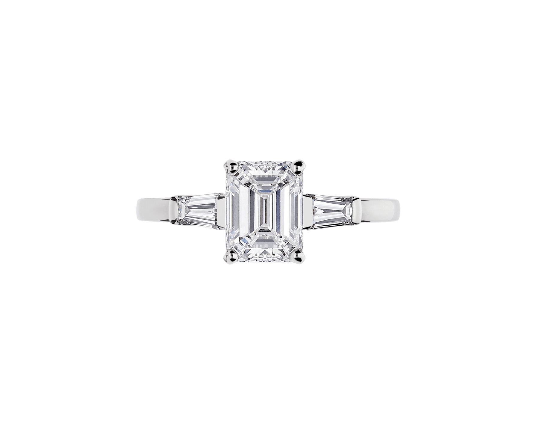 Griffe solitaire ring in platinum with one emerald cut diamond and two side diamonds 331649 image 3