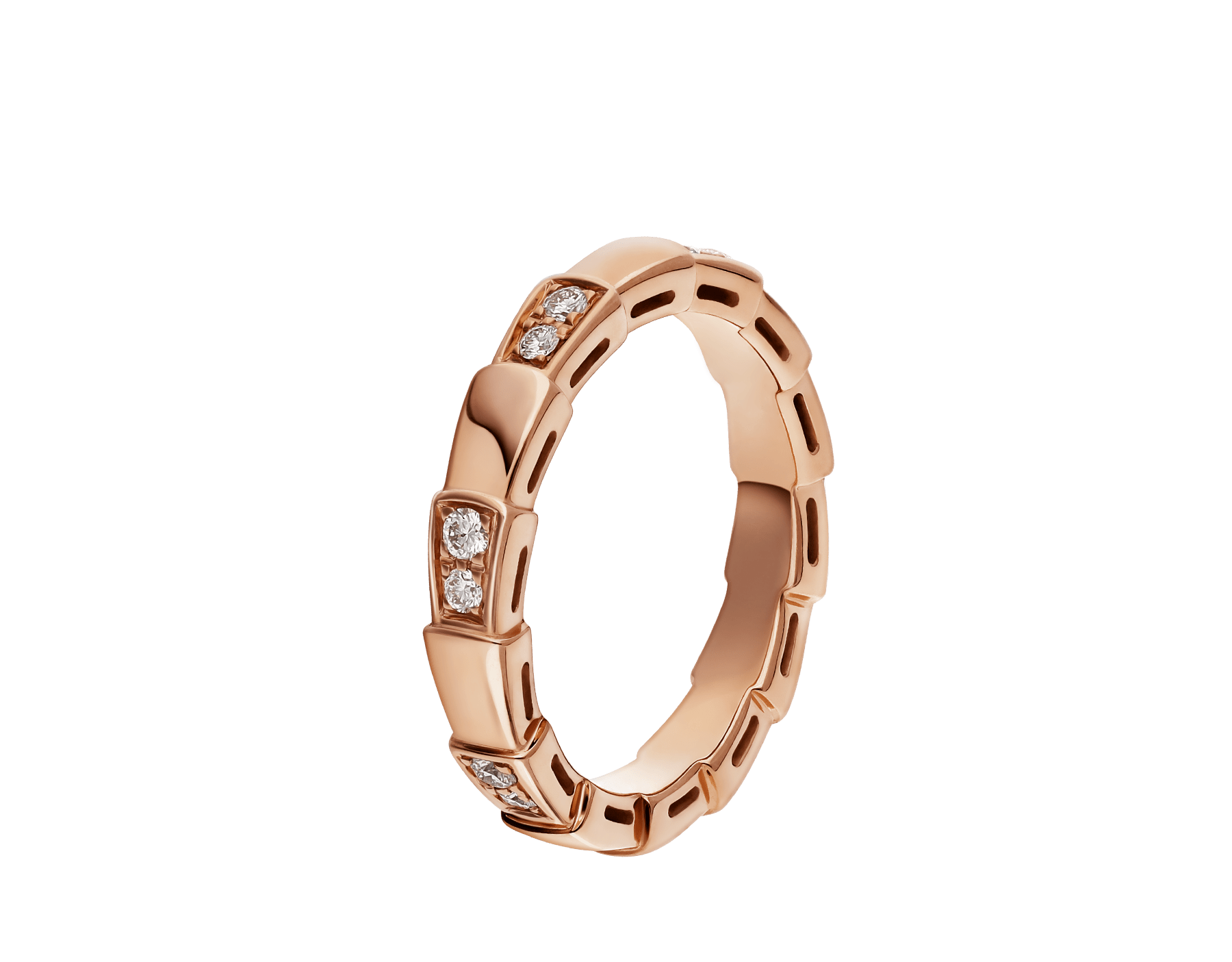 Serpenti Viper band Ring in 18 kt rose gold with half pavé diamonds . Width 4 mm AN857896 image 1