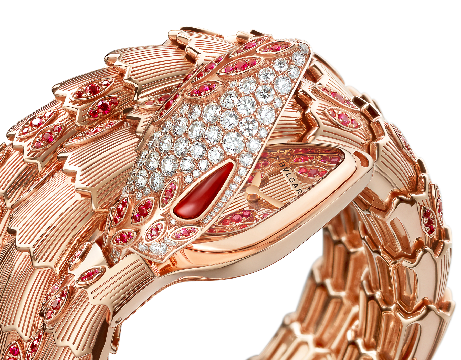 Serpenti Secret Watch with 18 kt rose gold head set with brilliant cut diamonds, brilliant cut rubies and carnelian eyes, 18 kt rose gold case, 18 kt rose gold dial and double spiral bracelet, both set with brilliant cut rubies. 102014 image 2