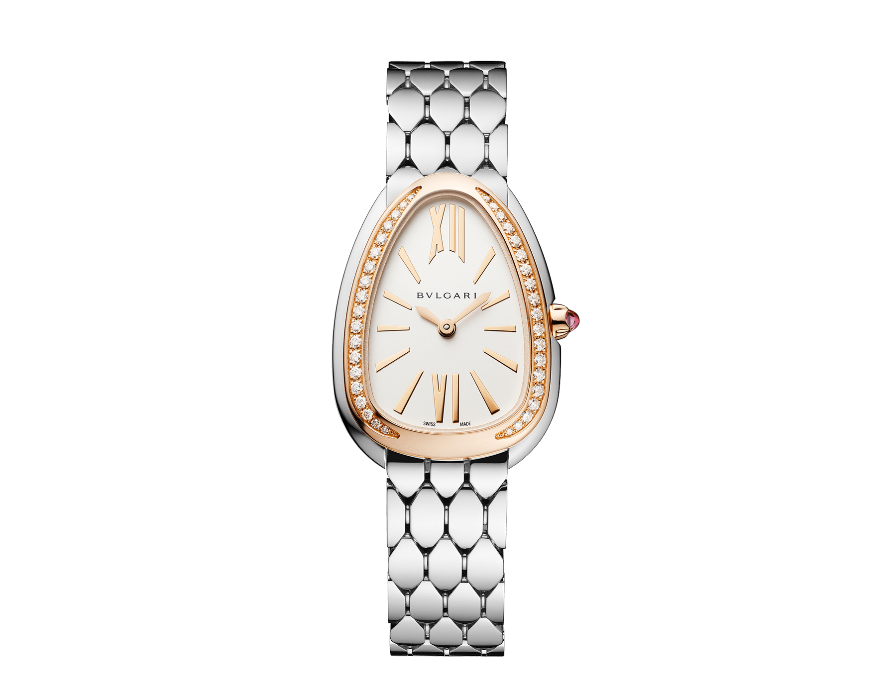 Serpenti Seduttori watch with stainless steel case, stainless steel bracelet, 18 kt rose gold bezel set with diamonds and a white silver opaline dial. 103143 image 1
