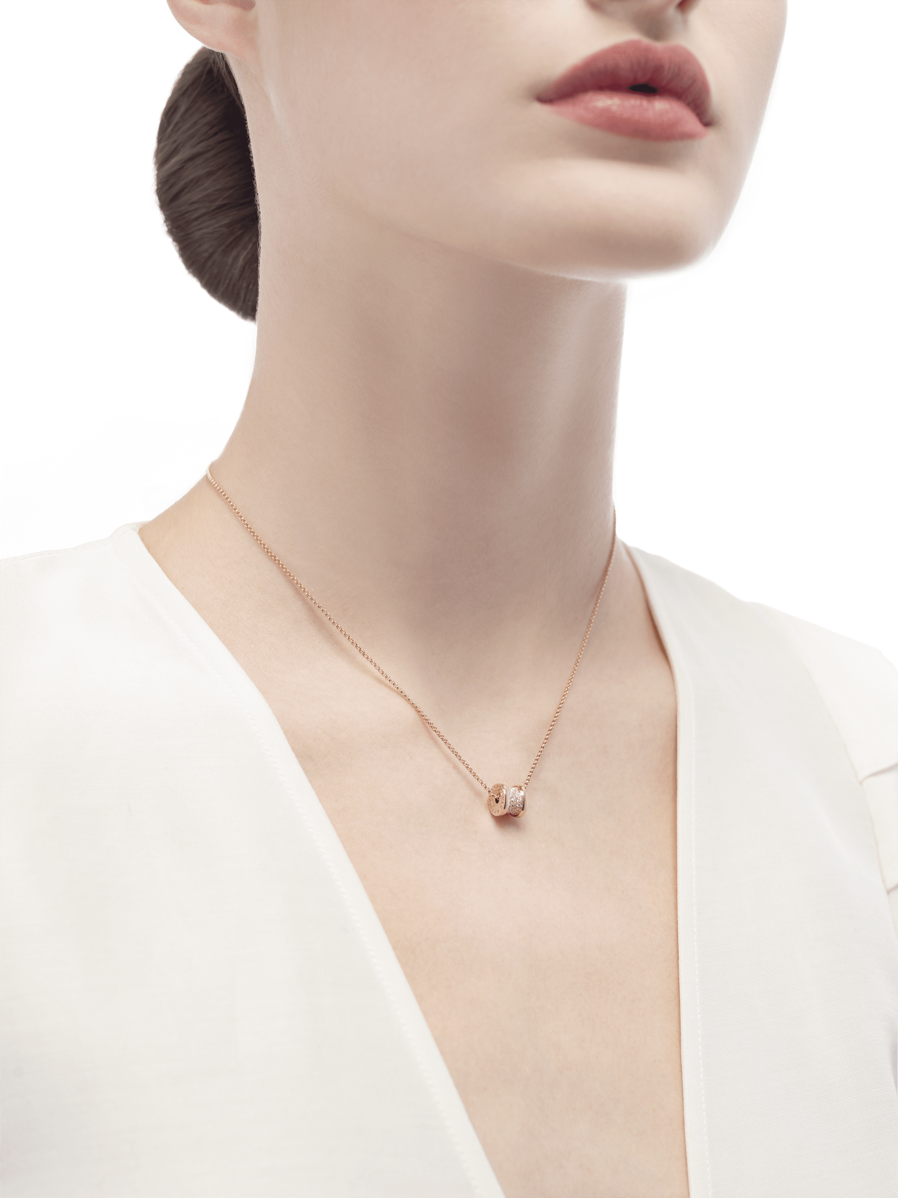 B.zero1 rose gold necklace with pavé diamonds. 351116 image 4