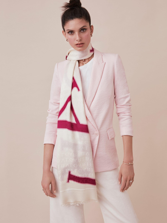 "White ""Lettere Bvlgari"" stole in fine silk wool. LETTEREBULGARI image 2"