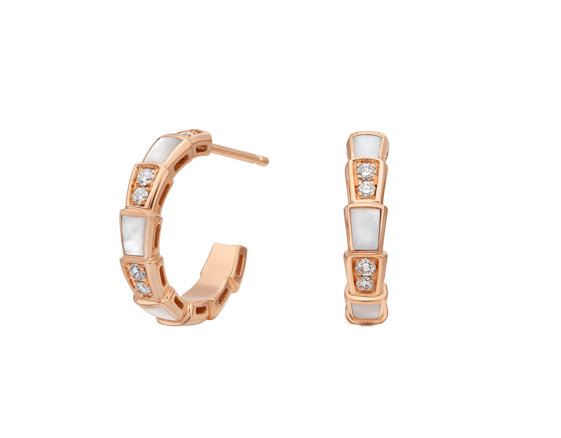 Serpenti Viper 18 kt rose gold earrings set with mother-of-pearl elements and pavé diamonds (0.31 ct) 356170 image 1
