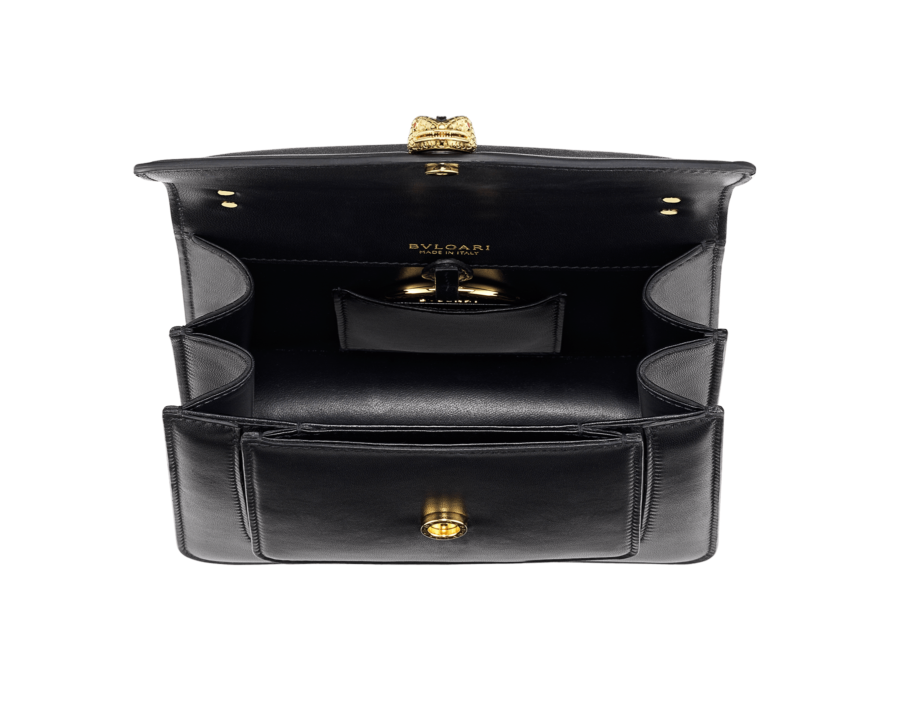 """""""Serpenti Forever"""" small maxi chain crossbody bag in black nappa leather, with black nappa leather inner lining. New Serpenti head closure in gold-plated brass, finished with small black onyx scales in the middle, and red enamel eyes. 291050 image 6"""