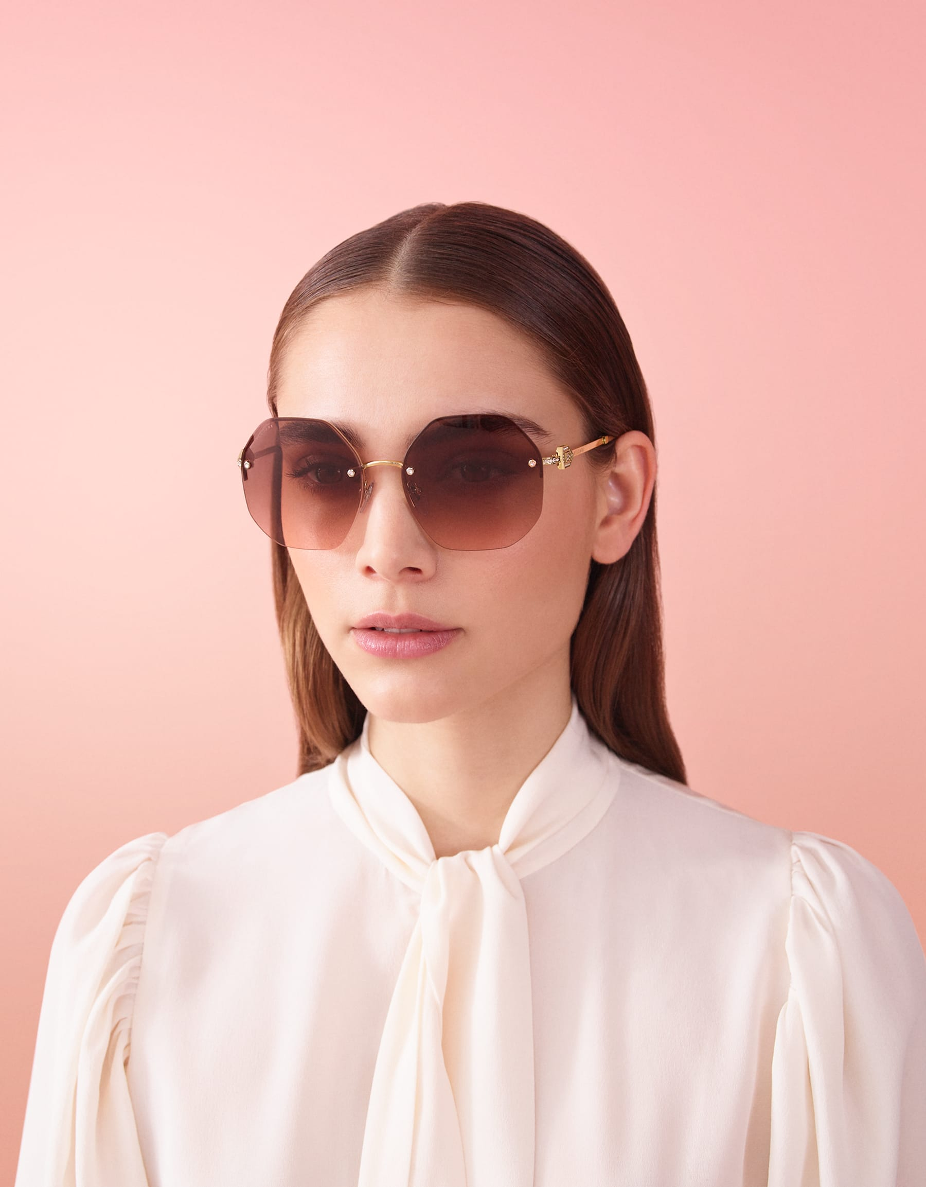Bvlgari Serpenti oversized metal sunglasses with Serpenti openwork metal décor with crystals. 903854 image 3