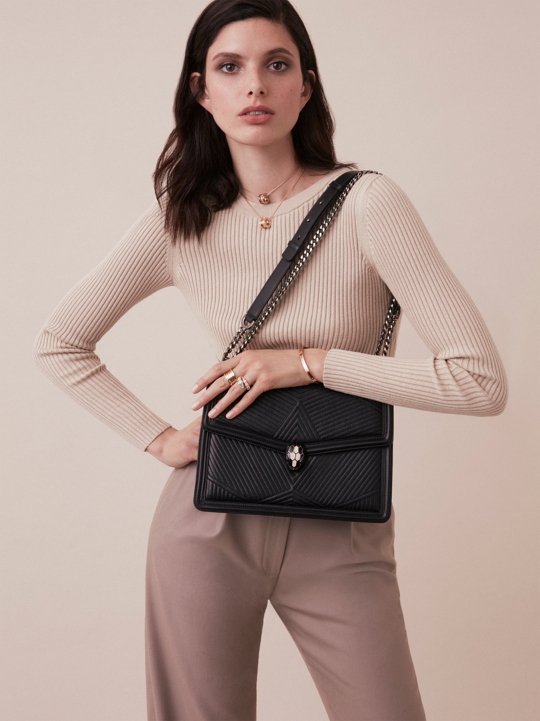 """Serpenti Diamond Blast"" shoulder bag in black quilted nappa leather body and black calf leather frames. Iconic snakehead closure in dark ruthenium plated brass enriched with black and white enamel and black onyx eyes. 973-FQDa image 5"