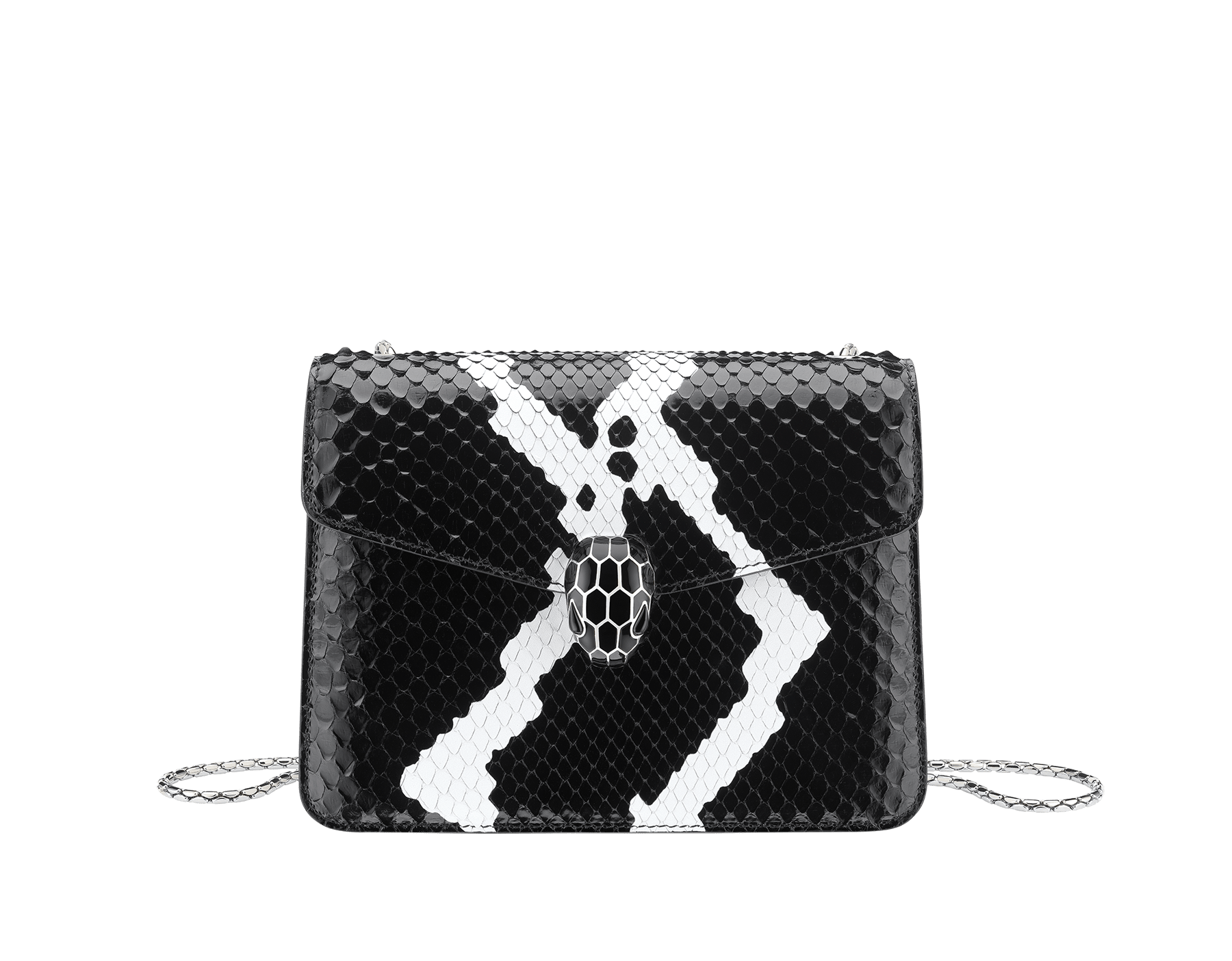 """Serpenti Forever"" crossbody bag in roccia ""Mineral"" python skin. Iconic snakehead closure in light gold plated brass enriched with black and hawk's eye enamel, and black onyx eyes. 422-Pb image 1"