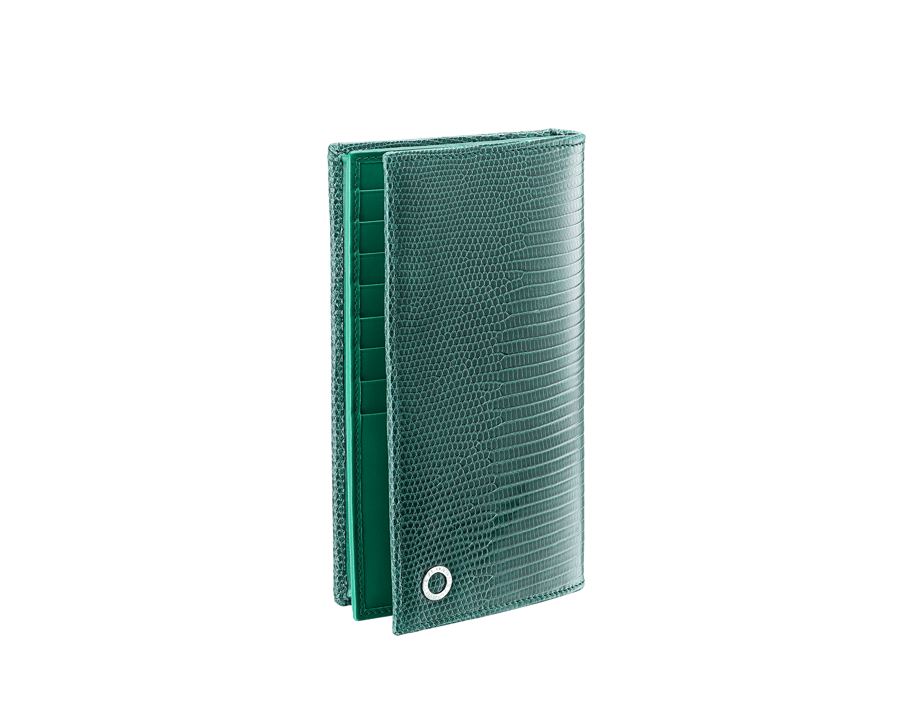 BVLGARI BVLGARI wallet for men in forest emerald shiny lizard skin and black nappa lining. Iconic logo décor in palladium plated brass. 289422 image 1