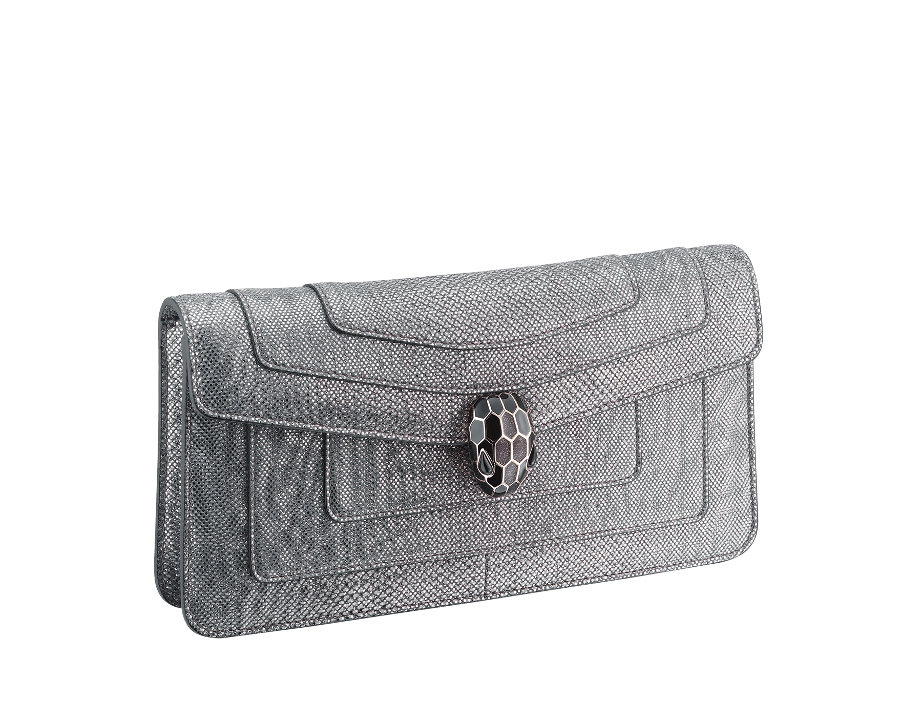 Serpenti Forever shoulder bag in charcoal diamond metallic karung skin. Snakehead closure in light gold plated brass decorated with shiny black and glitter charcoal diamond enamel, and black onyx eyes. 287945 image 2