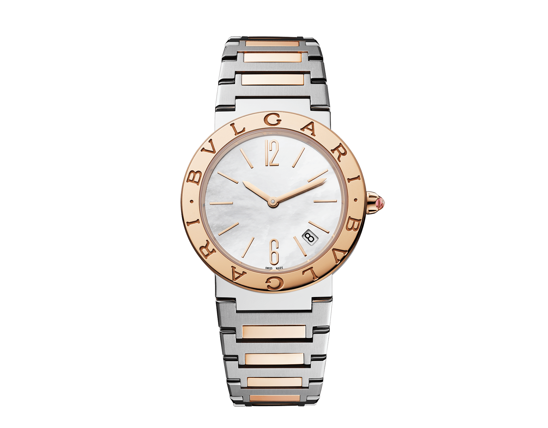 BVLGARI BVLGARI LADY watch with stainless steel case, 18 kt rose gold bezel engraved with double logo, white mother-of-pearl dial and 18 kt rose gold and stainless steel bracelet 102925 image 1
