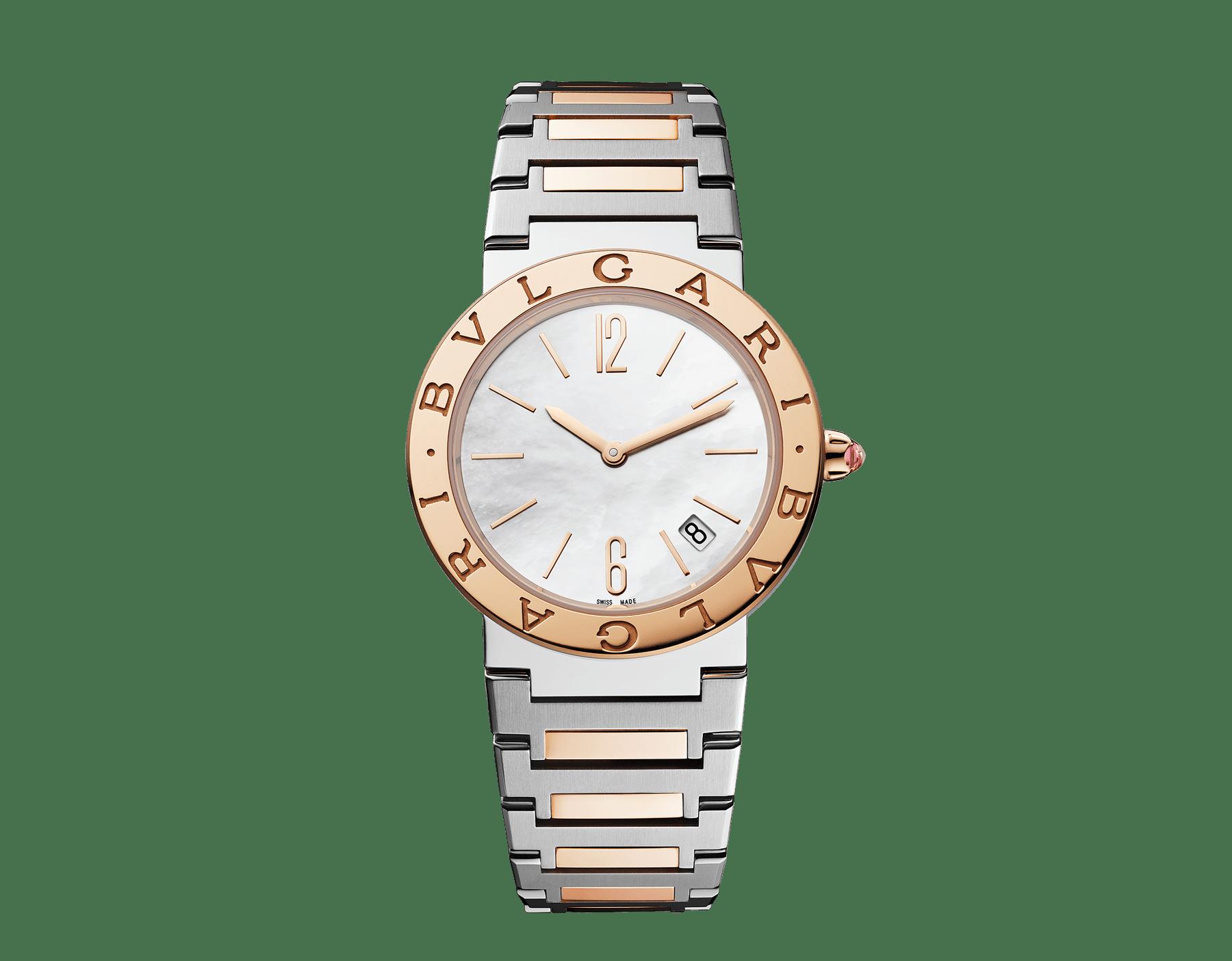 Reloj BVLGARI BVLGARI LADY con caja en acero inoxidable, bisel en oro rosa de 18qt grabado con el doble logotipo, esfera de madreperla blanca y brazalete en oro rosa de 18qt y acero inoxidable 102925 image 1