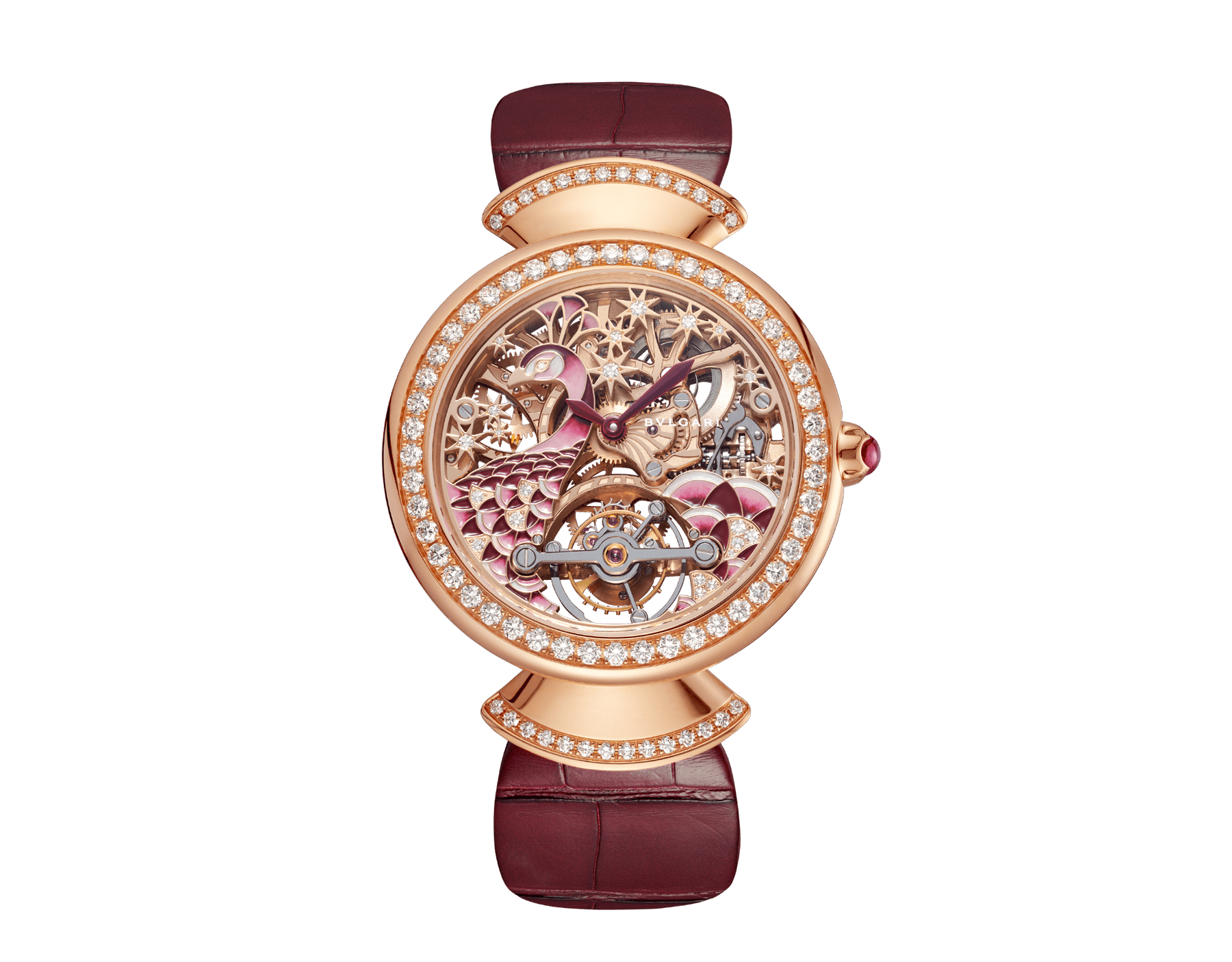 DIVAS' DREAM watch with skeletonised mechanical manufacture movement in 18 kt rose gold, tourbillon, manual winding, 18 kt rose gold case, 18 kt rose gold bezel and links set with brilliant-cut diamonds, 18 kt rose gold skeletonised dial decorated with hand-painted miniature motif of a peacock and stars made of brilliant-cut diamonds, transparent case back and pink alligator bracelet 103166 image 1