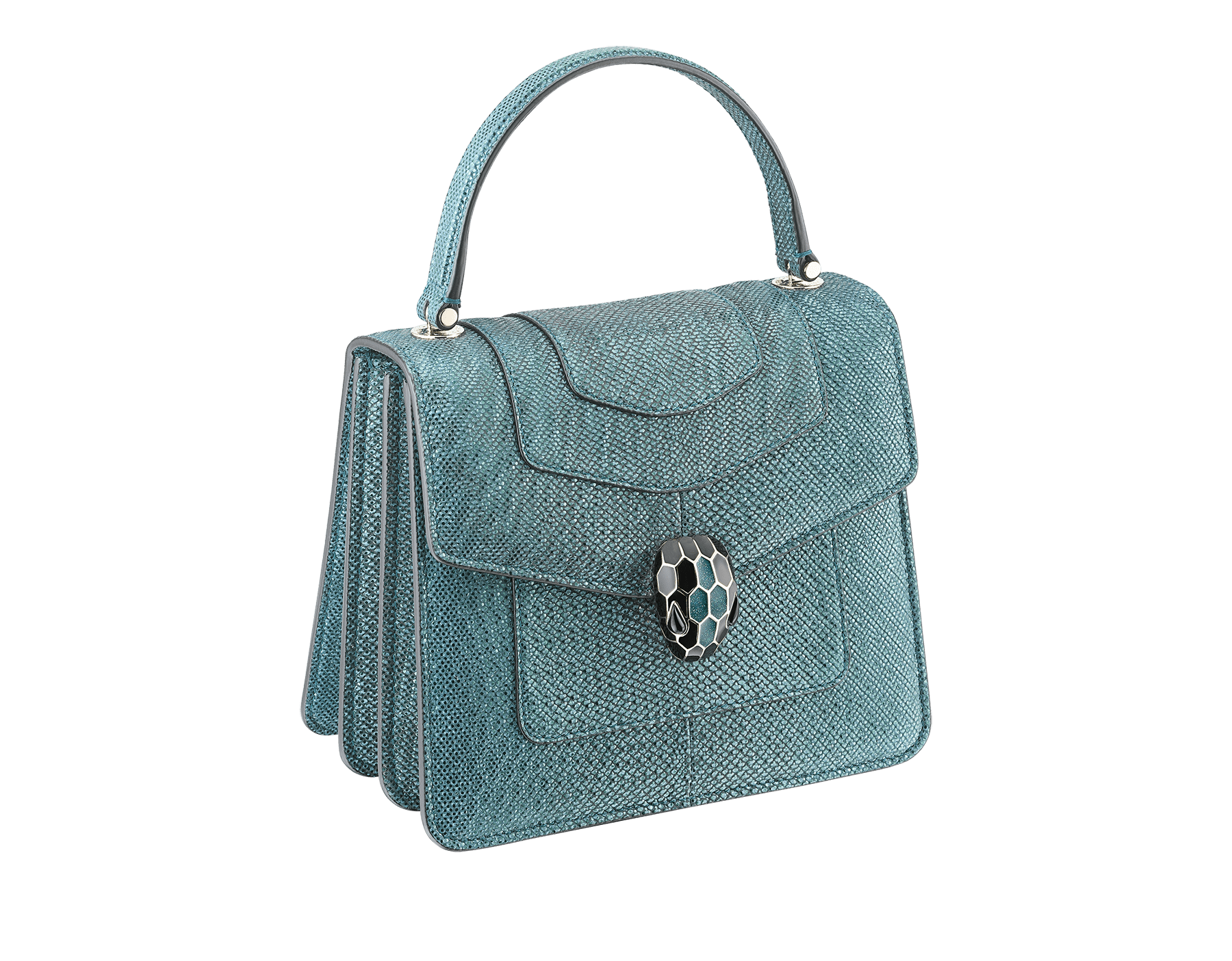 """Serpenti Forever"" crossbody bag in deep jade metallic karung skin. Iconic snakehead closure in light gold plated brass enriched with black and glitter deep jade enamel and black onyx eyes. 287946 image 2"