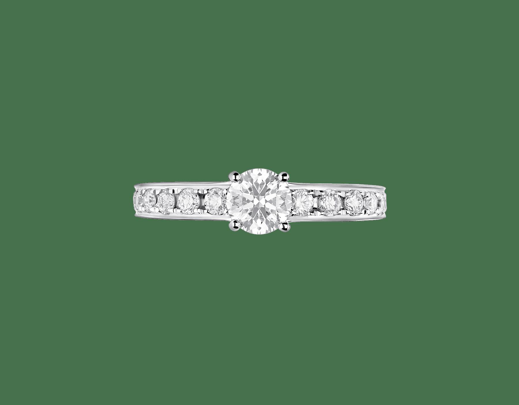 Anello 1503 – Dedicata a Venezia in platino con diamante tondo taglio brillante e pavé di diamanti. 343211 image 3