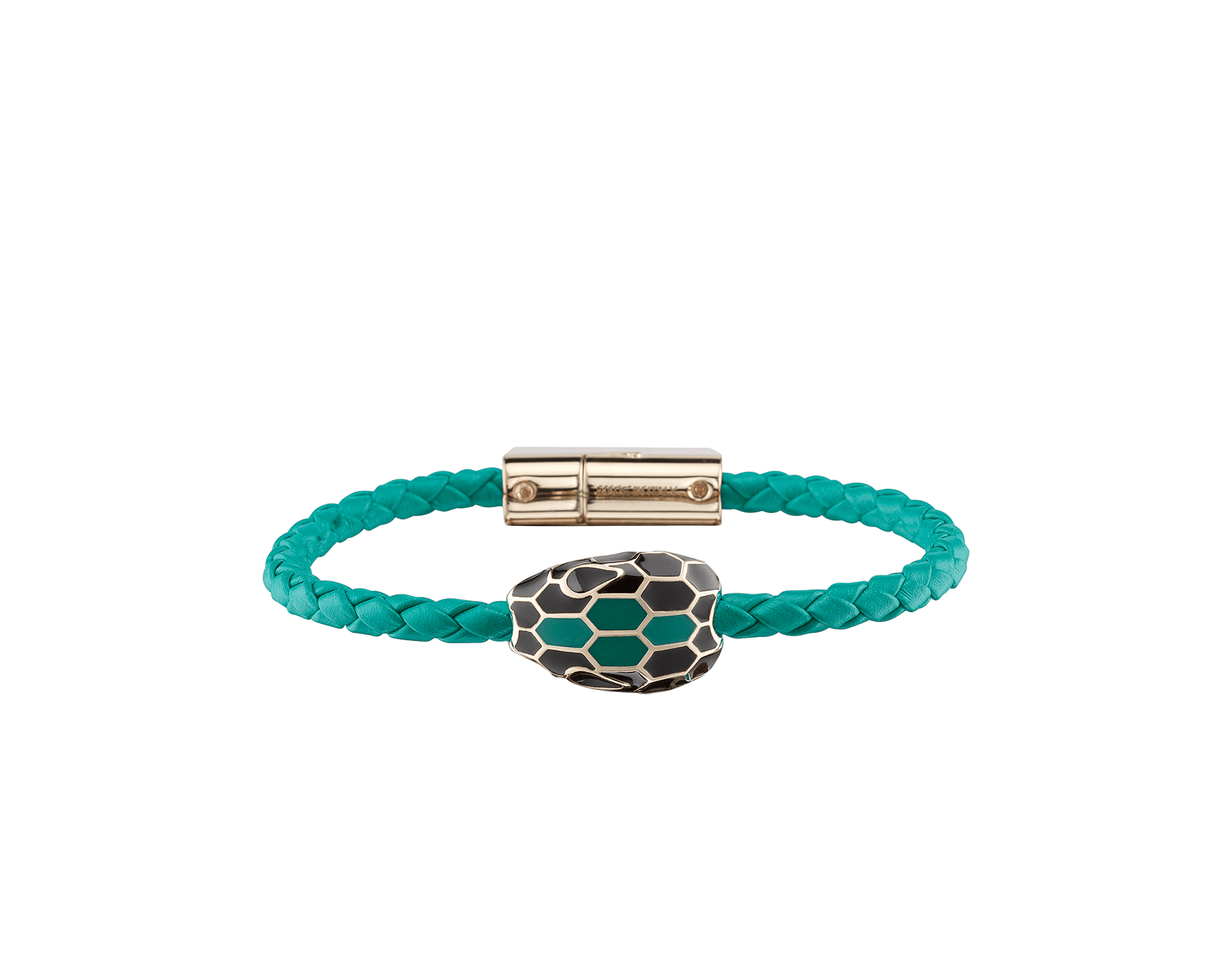 Serpenti Forever braid bracelet in tropical tourquoise woven calf leather with an iconic snakehead décor in black and tropical tourquoise enamel. SerpBraid-WCL-TT image 1