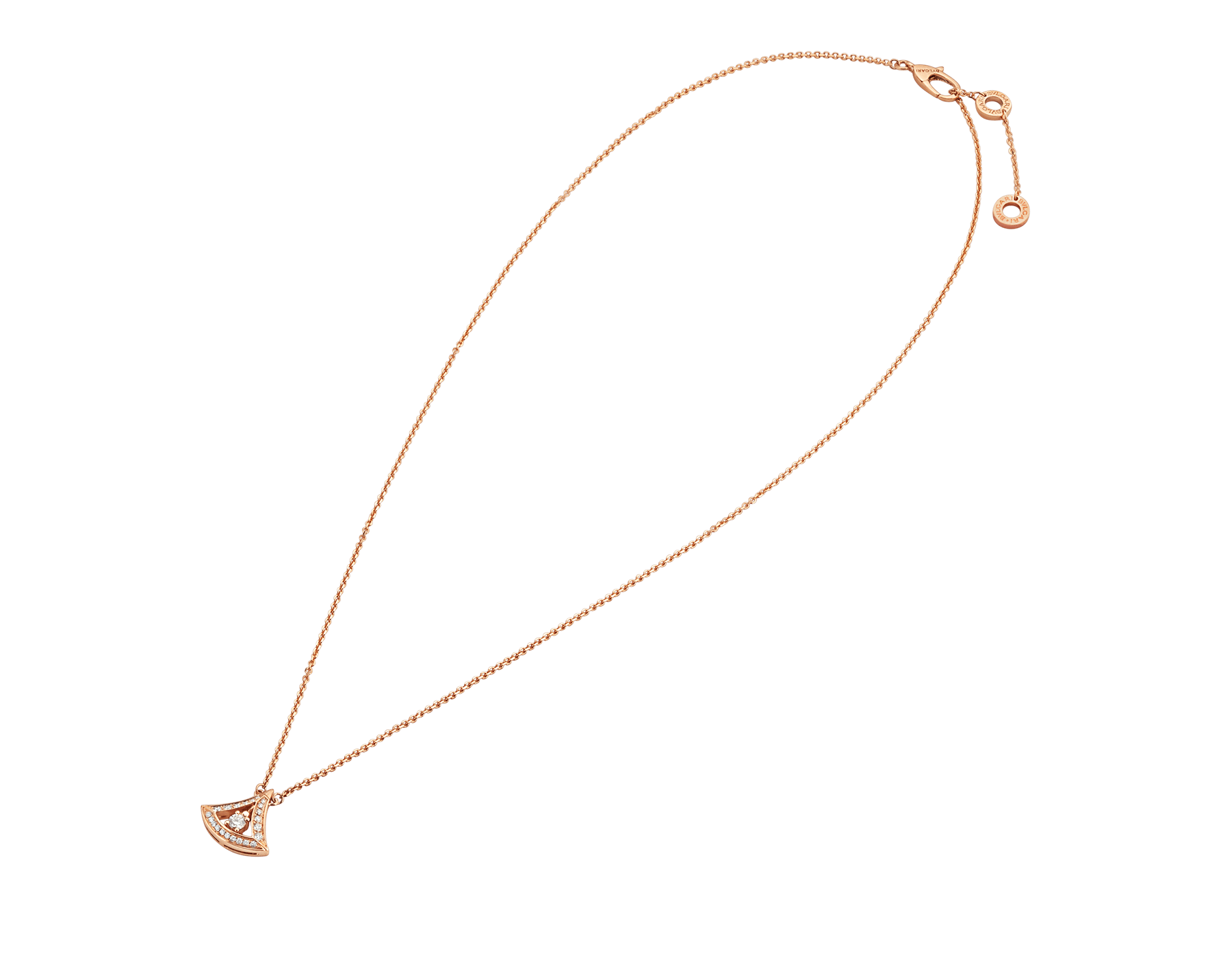 DIVAS' DREAM 18 kt rose gold openwork necklace with 18 kt rose gold pendant set with a central diamond and pavé diamonds. 354363 image 2