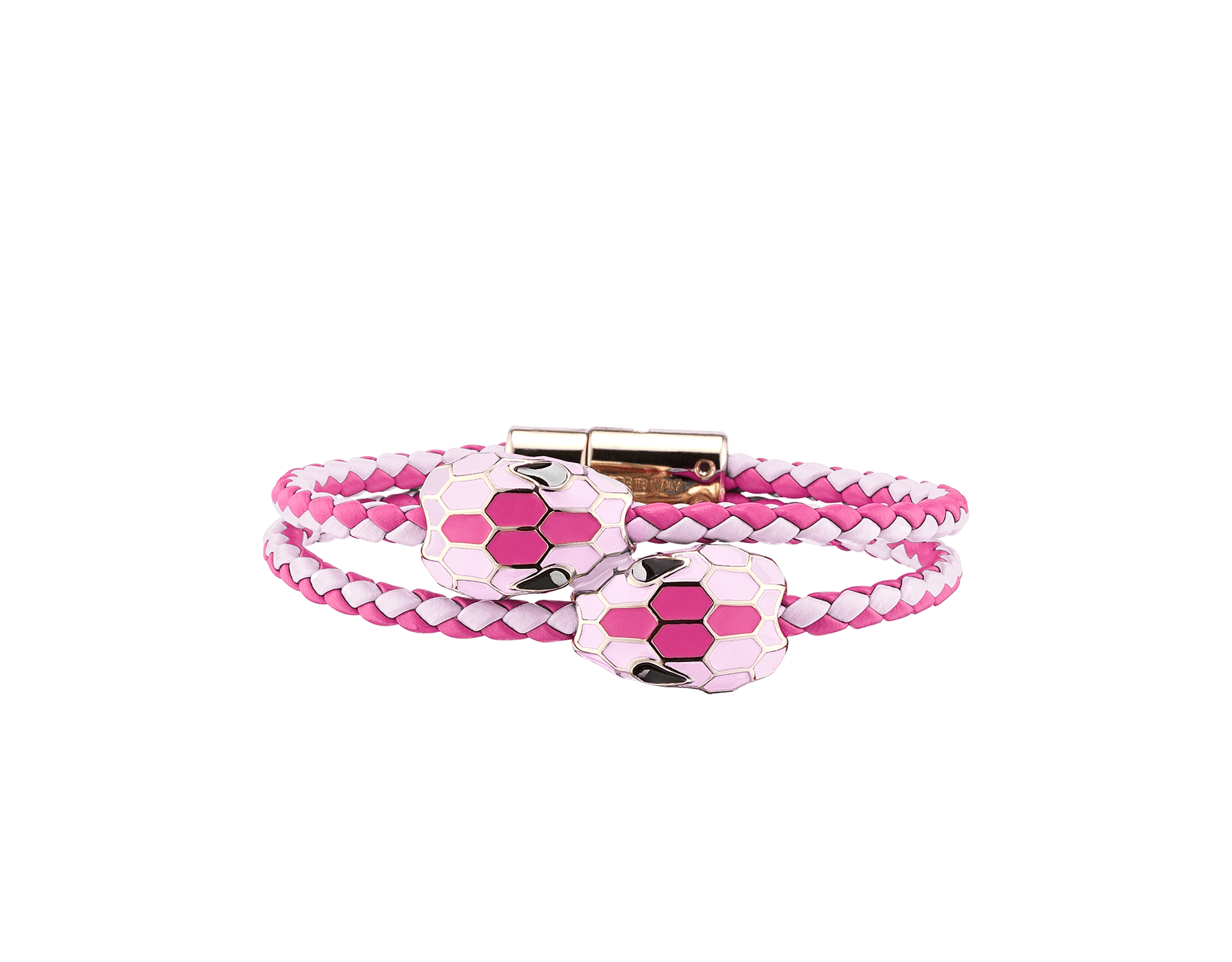 Serpenti Forever double braid bracelet in flash amethyst and rosa di francia woven calf leather with a double snakehead décor in rosa di francia and flash amethyst enamel. NewDoubleBraid-WCL-FARdF image 1