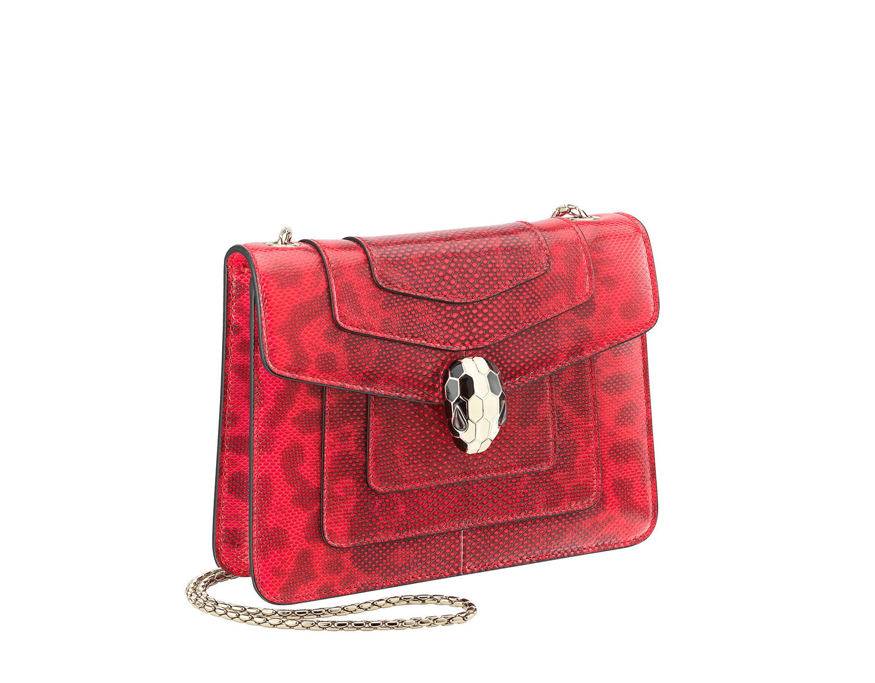 Serpenti Forever crossbody bag in sea star coral shiny karung skin. Snakehead closure in light gold plated brass decorated with black and white enamel, and green malachite eyes. 287911 image 2