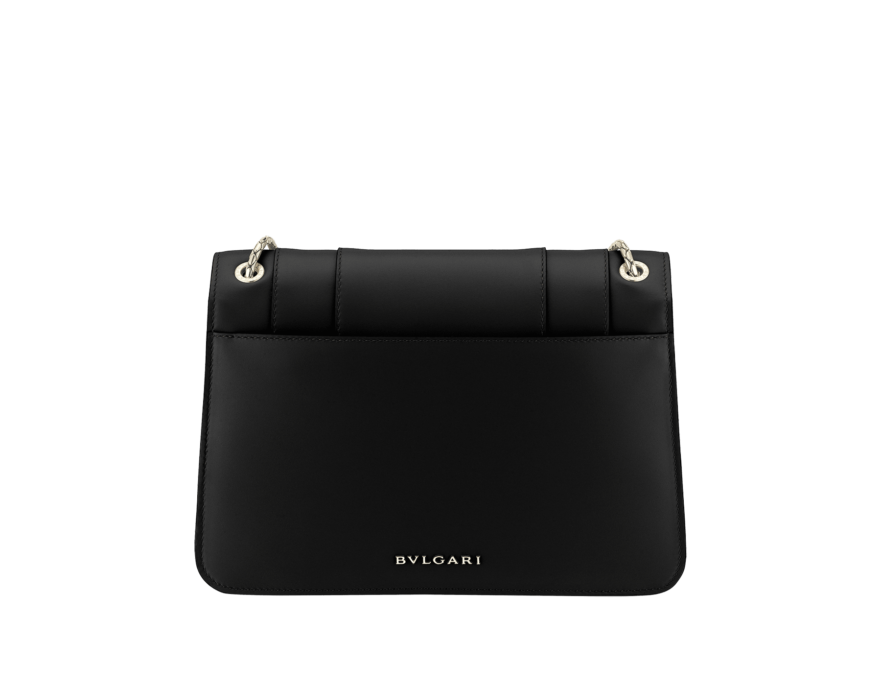 """""""Serpenti Forever"""" shoulder bag in black calf leather. Iconic snakehead closure in light gold-plated brass enhanced with black and white agate enamel and green malachite eyes. 1077-CL image 3"""