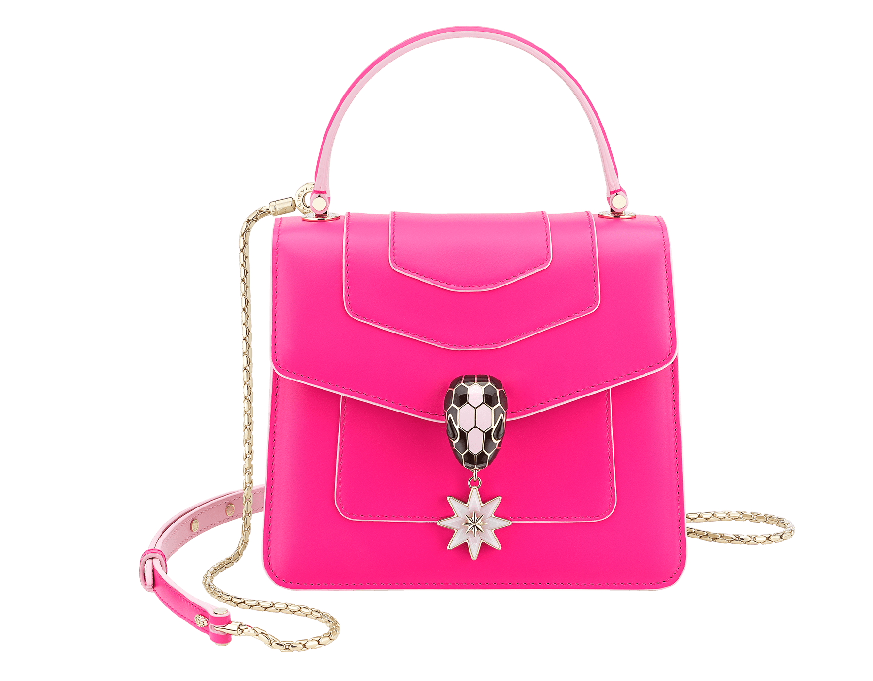 Serpenti Forever Holiday Season crossbody bag in flash amethyst, rose quartz brushed metallic and rosa di francia calf leather. Snakehead closure in light gold plated brass embellished with black and sakura pink enamel, black onyx eyes and a pink opal eight-pointed star charm. 289373 image 1