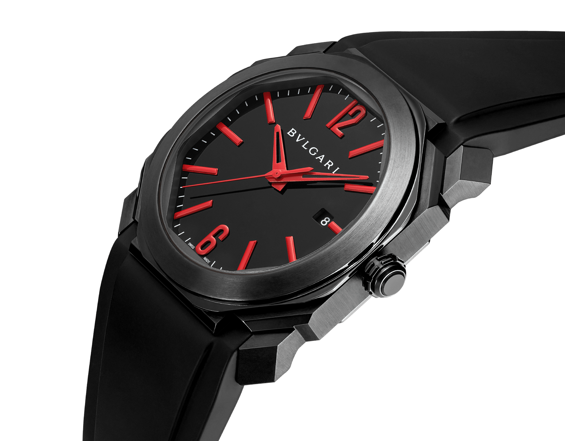 Octo watch with mechanical manufacture movement, automatic winding and date, stainless steel case treated with black Diamond Like Carbon, black lacquered dial and black rubber bracelet. 102738 image 2
