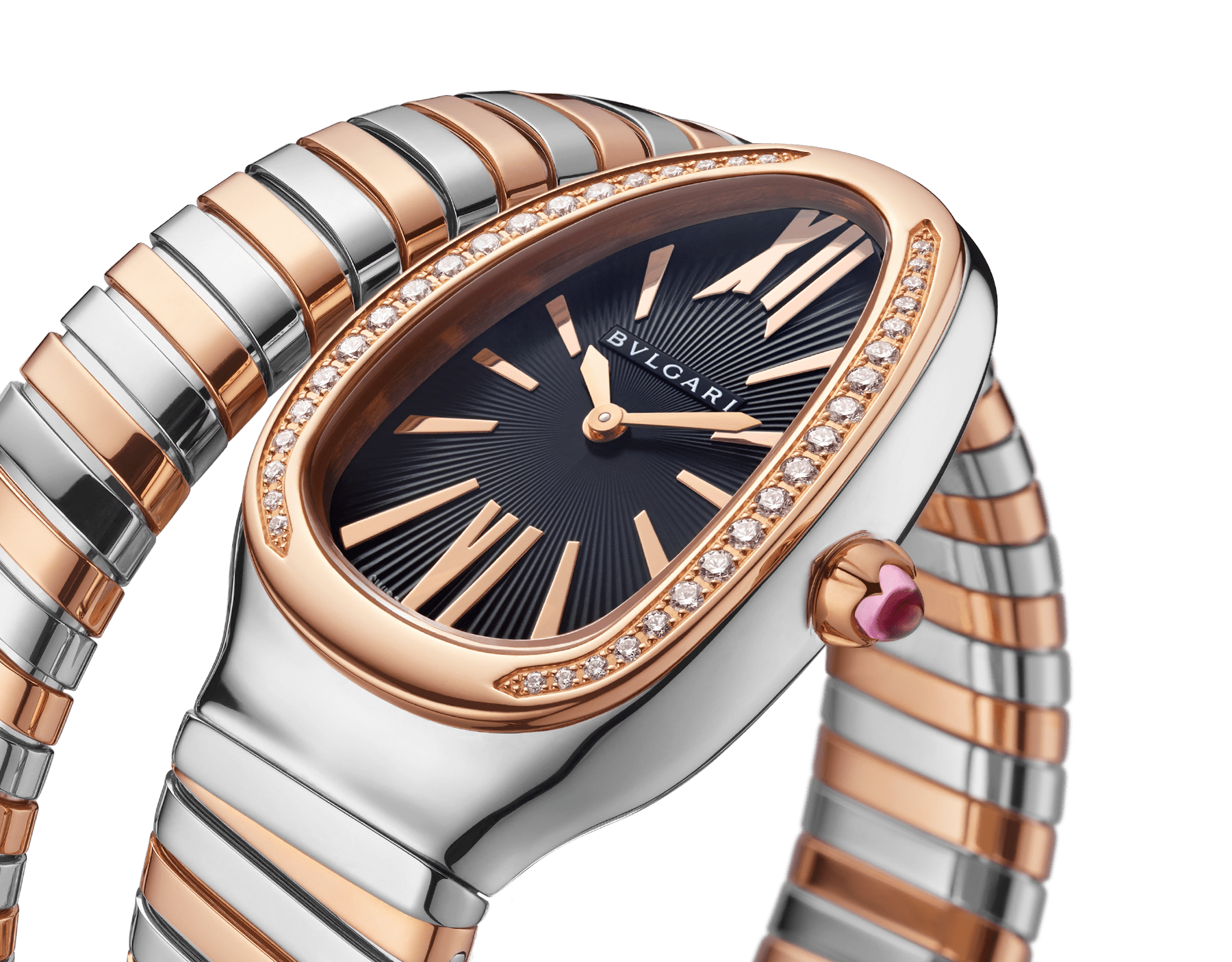 Serpenti Tubogas single spiral watch with stainless steel case, 18 kt rose gold bezel set with brilliant cut diamonds, black opaline dial, 18 kt rose gold and stainless steel bracelet. 102098 image 3