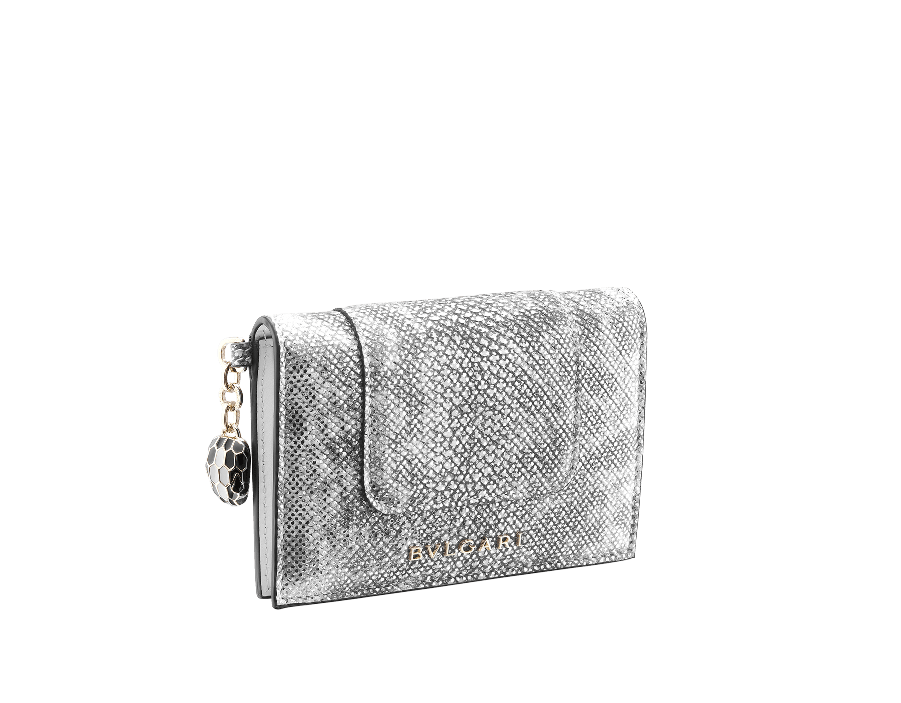 """""""Serpenti Forever"""" folded card holder in white agate metallic karung skin and white agate calf leather. Iconic snakehead charm in black and white agate enamel with black enamel eyes. 289308 image 1"""